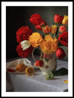 Art print titled With a Bouquet of Tulips by the artist Tatyana Skorokhod (Татьяна Скороход)