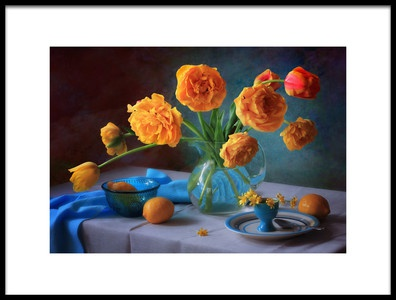 Art print titled With a Bouquet of Yellow Tulips by the artist Tatyana Skorokhod (Татьяна Скороход)
