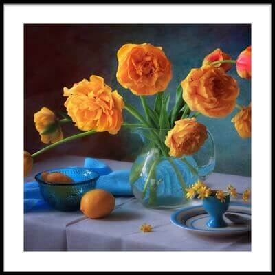 Art print titled With a Bouquet of Yellow Tulips by the artist Tatyana Skorokhod (Татьяна Скороход)