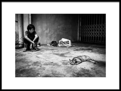 Art print titled With Cats by the artist TORU MATSUNAGA
