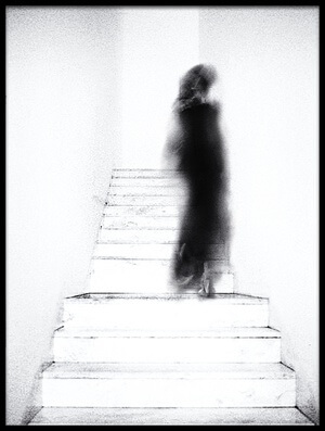 Art print titled Woman On Stairs by the artist jeffrey hummel