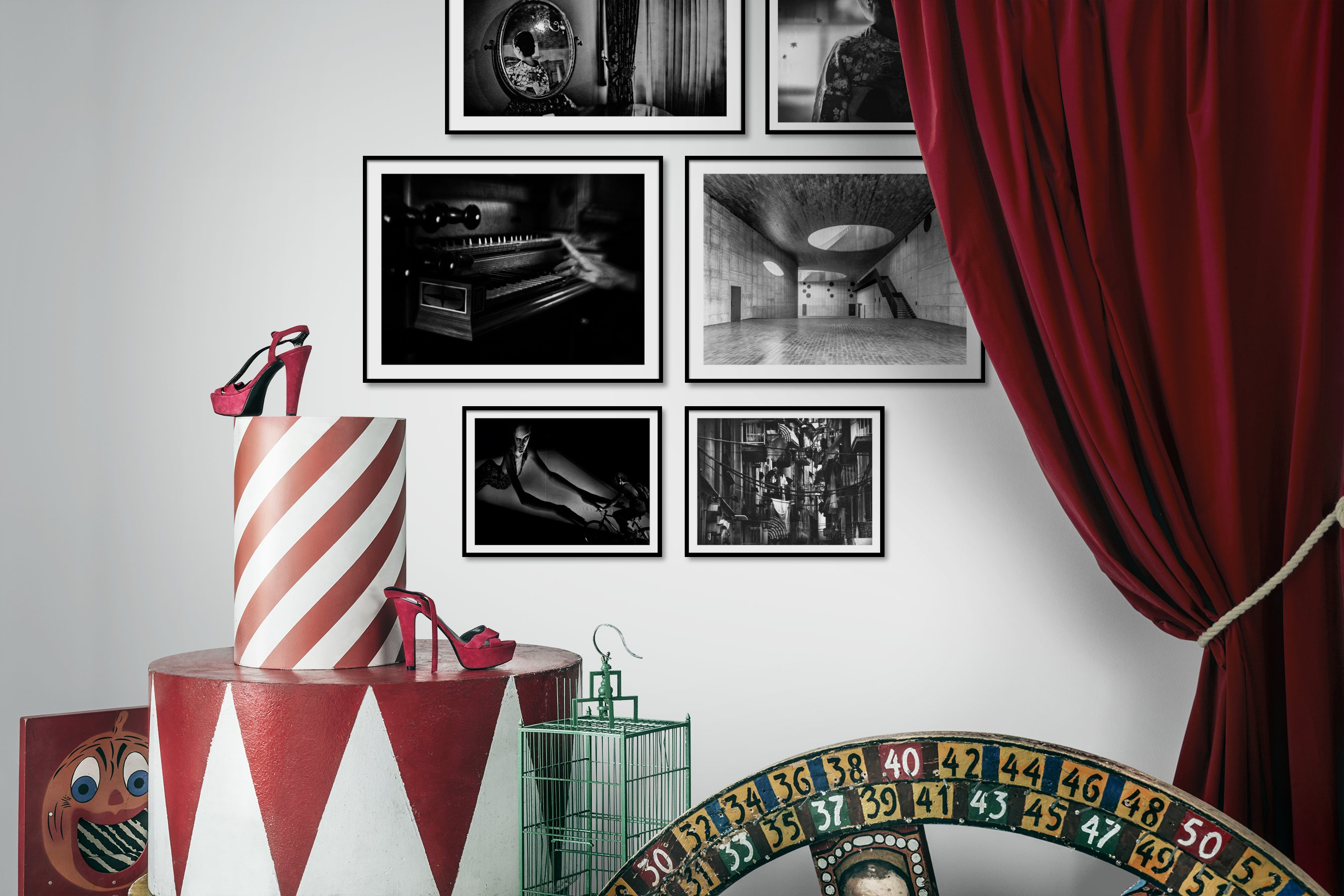 Gallery wall idea with six framed pictures arranged on a wall depicting Fashion & Beauty, Black & White, Vintage, Artsy, and City Life