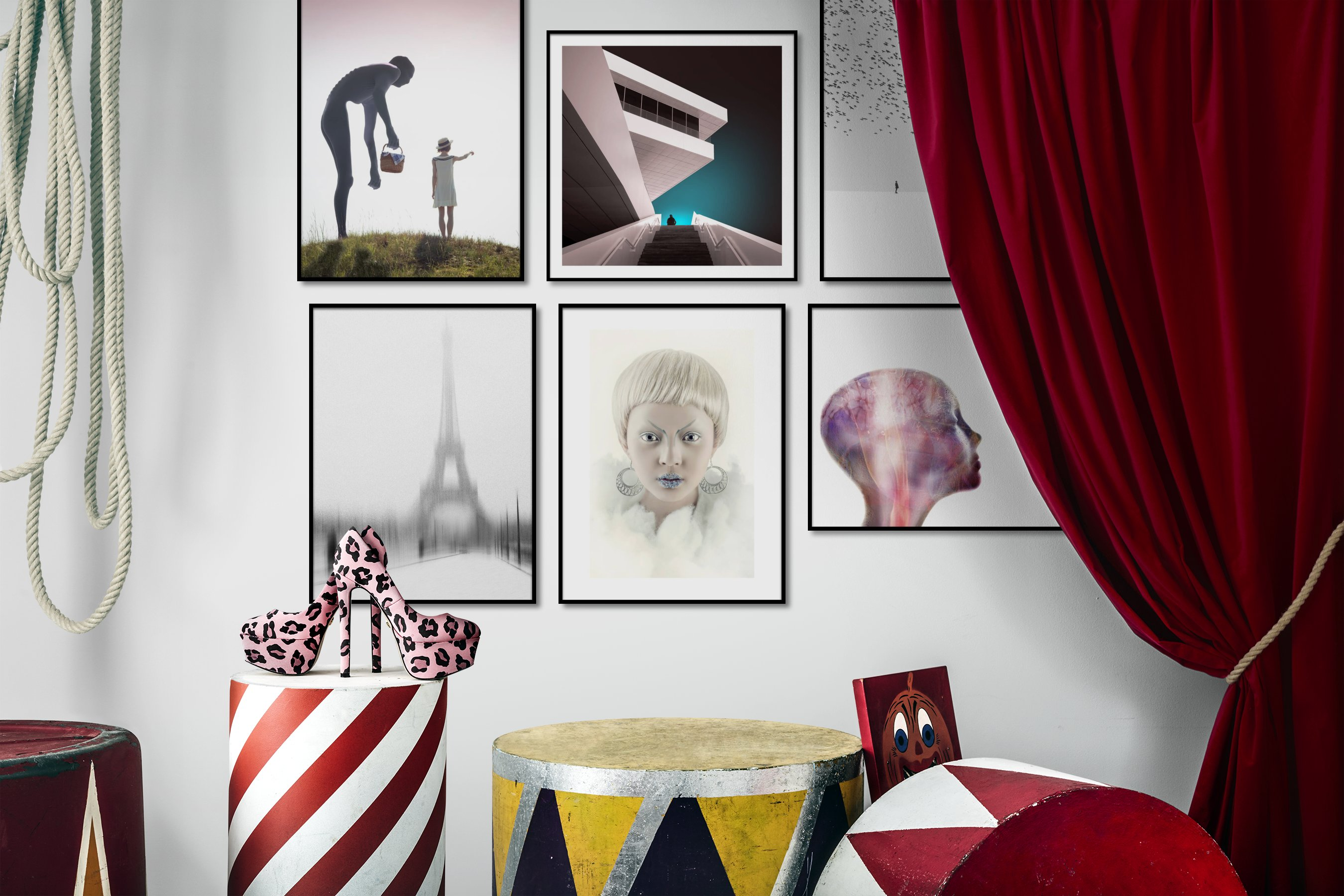 Gallery wall idea with six framed pictures arranged on a wall depicting Artsy, Country Life, Black & White, Bright Tones, For the Minimalist, City Life, Fashion & Beauty, Animals, and Mindfulness