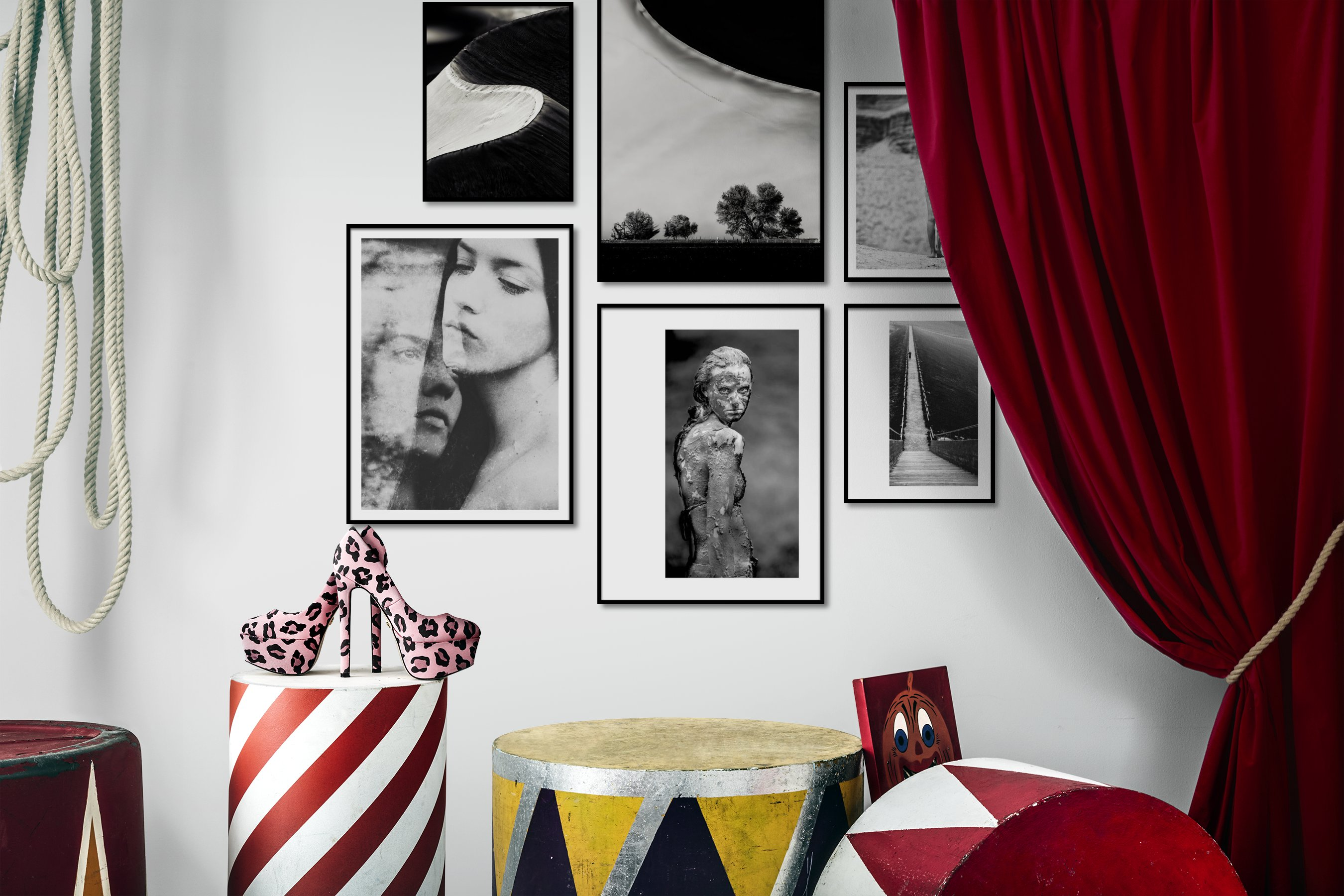 Gallery wall idea with six framed pictures arranged on a wall depicting Black & White, For the Moderate, Nature, Artsy, Fashion & Beauty, Vintage, and Country Life