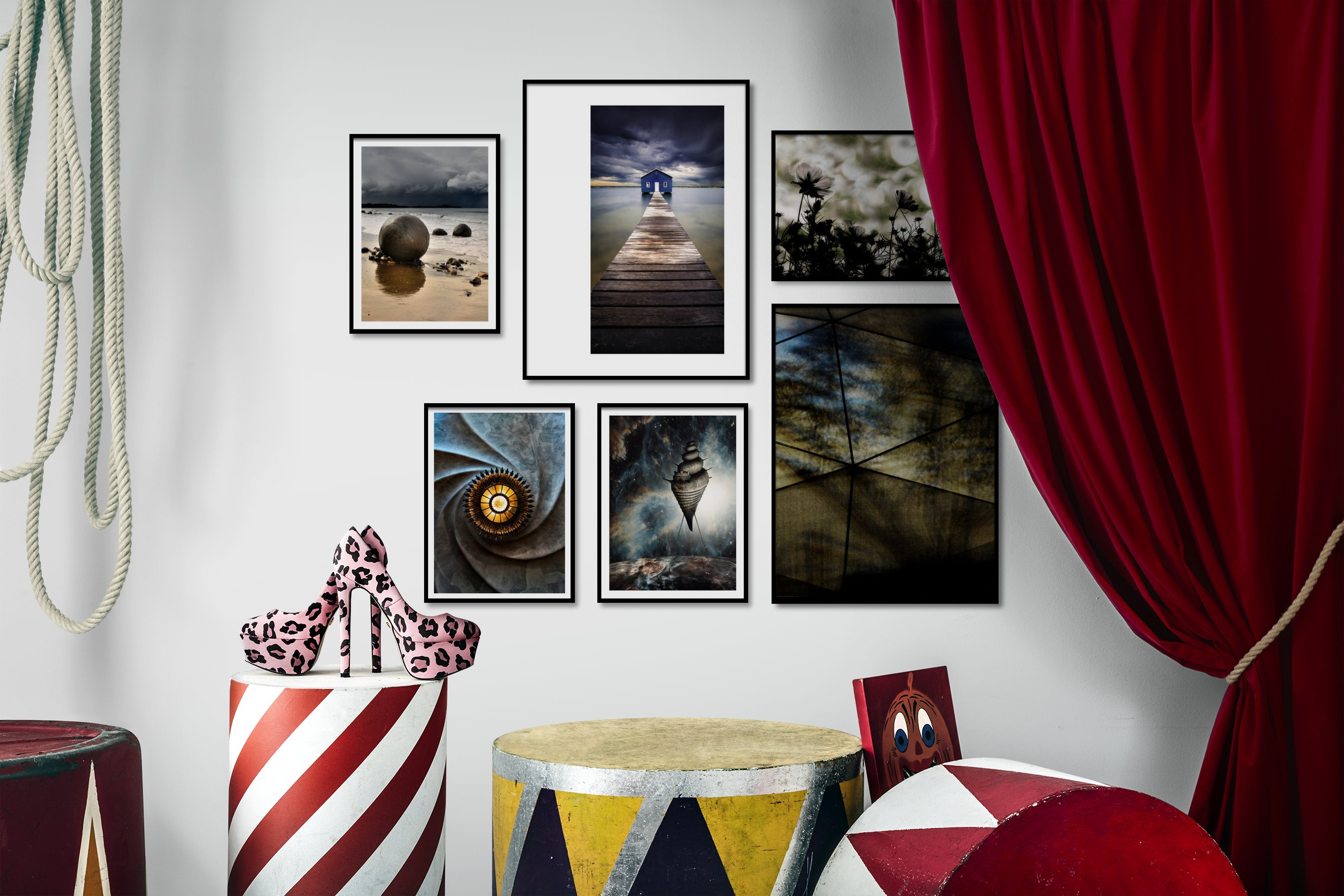 Gallery wall idea with six framed pictures arranged on a wall depicting Beach & Water, Mindfulness, Artsy, For the Moderate, and Flowers & Plants