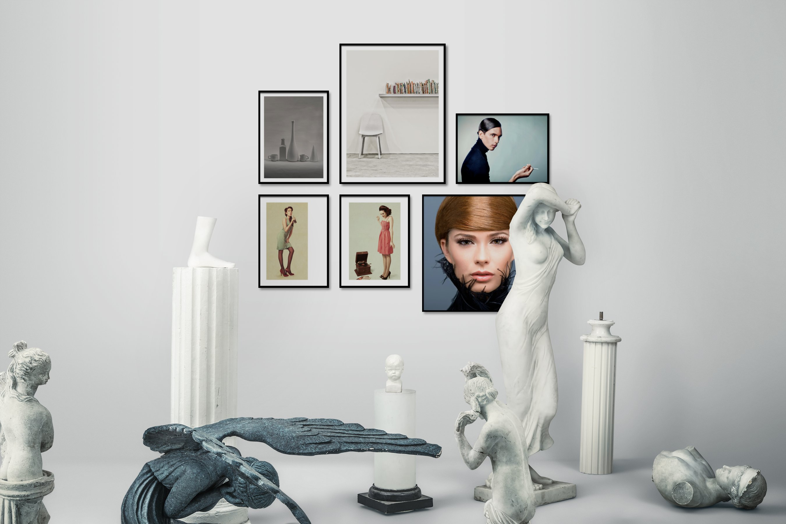 Gallery wall idea with six framed pictures arranged on a wall depicting Black & White, For the Minimalist, Fashion & Beauty, and Vintage