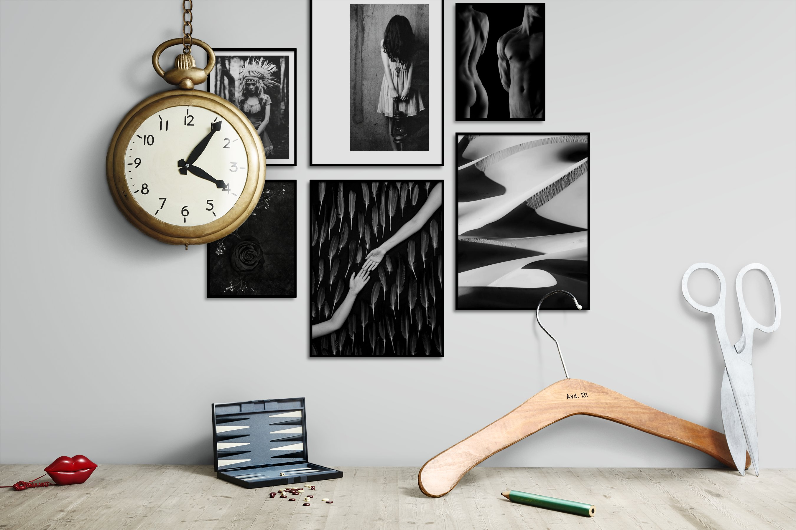 Gallery wall idea with six framed pictures arranged on a wall depicting Fashion & Beauty, Black & White, Americana, Artsy, For the Moderate, Mindfulness, Dark Tones, For the Minimalist, and Nature