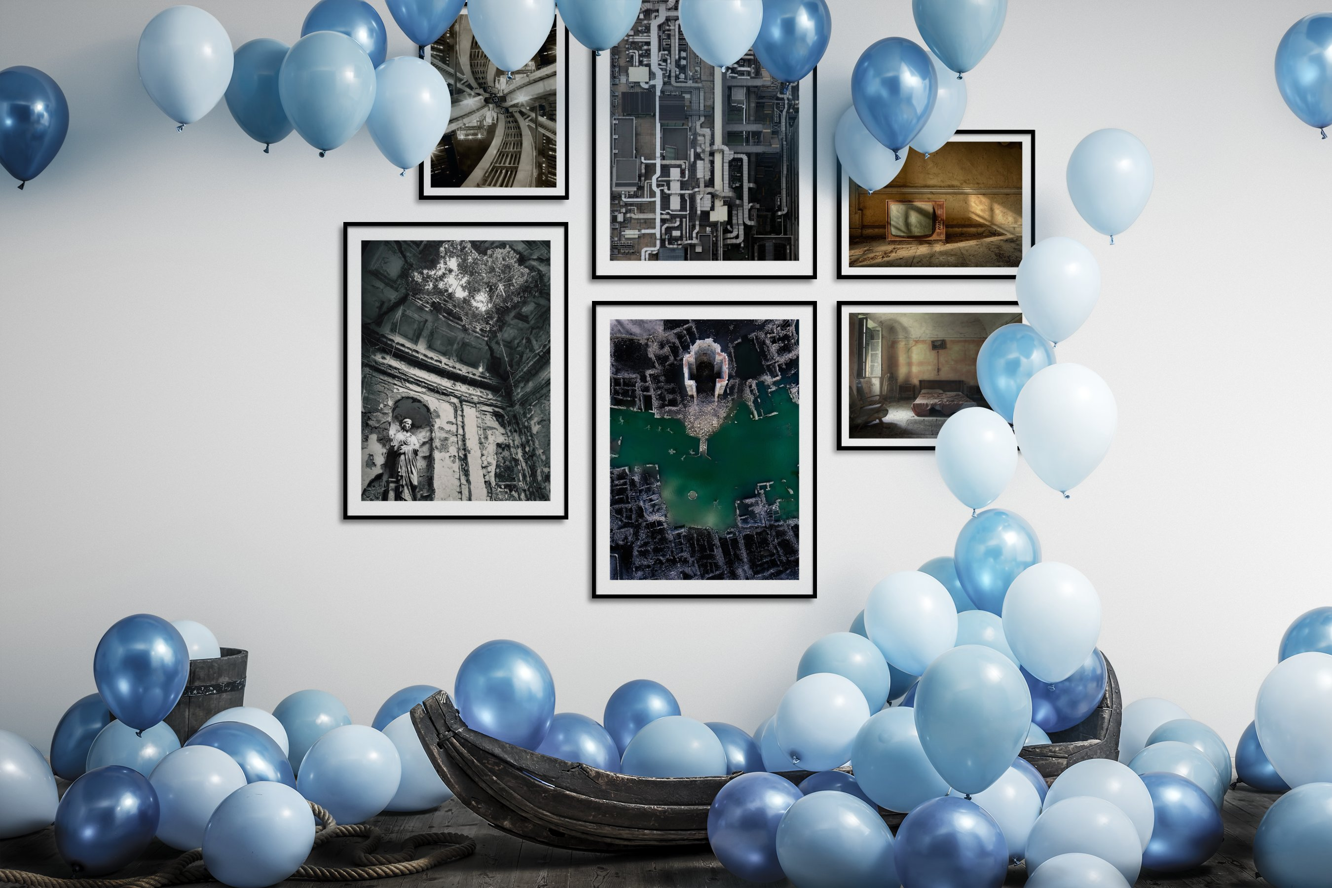Gallery wall idea with six framed pictures arranged on a wall depicting For the Maximalist, City Life, Black & White, Vintage, and For the Moderate