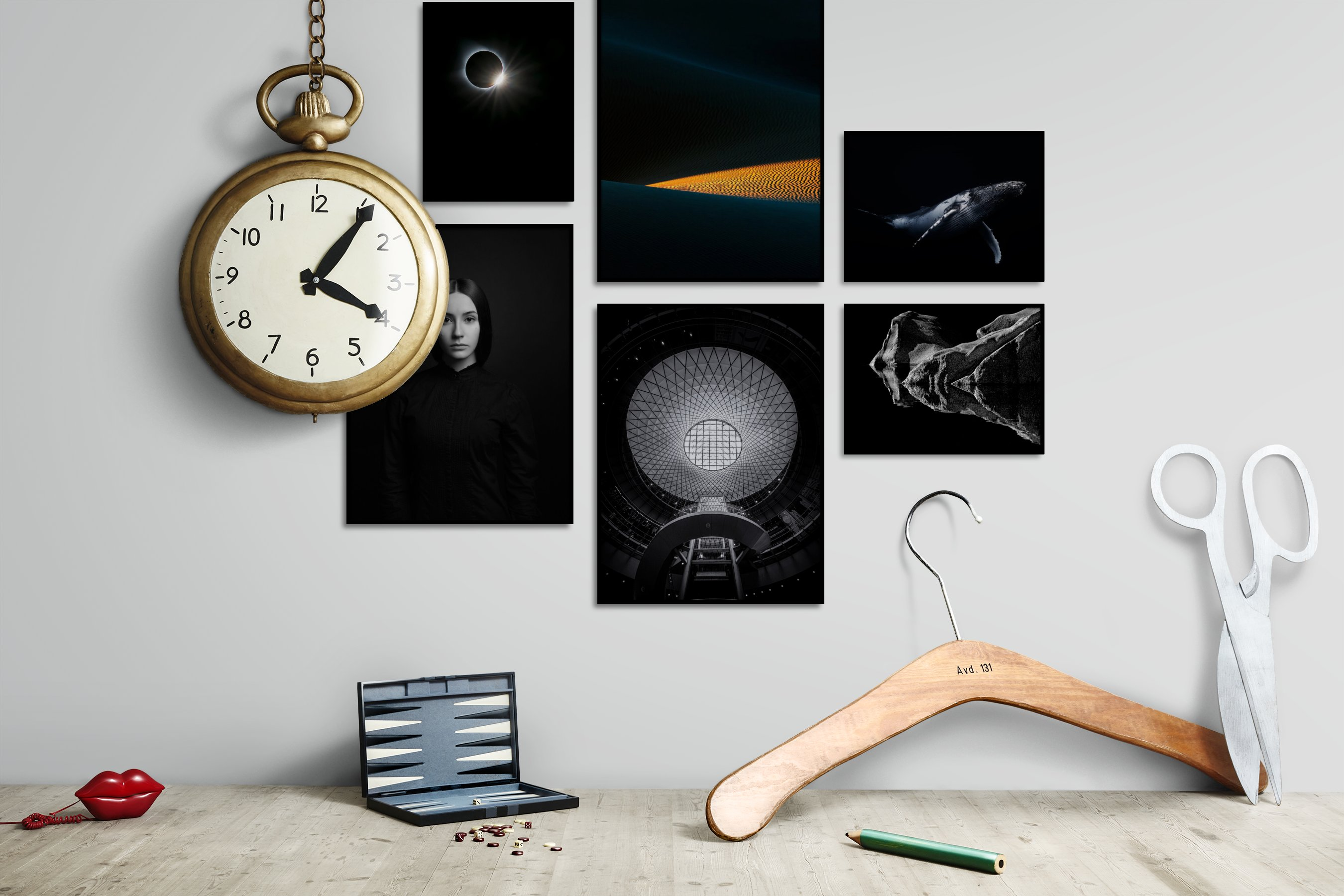 Gallery wall idea with six framed pictures arranged on a wall depicting Dark Tones, For the Minimalist, Nature, Fashion & Beauty, Black & White, Animals, and Mindfulness