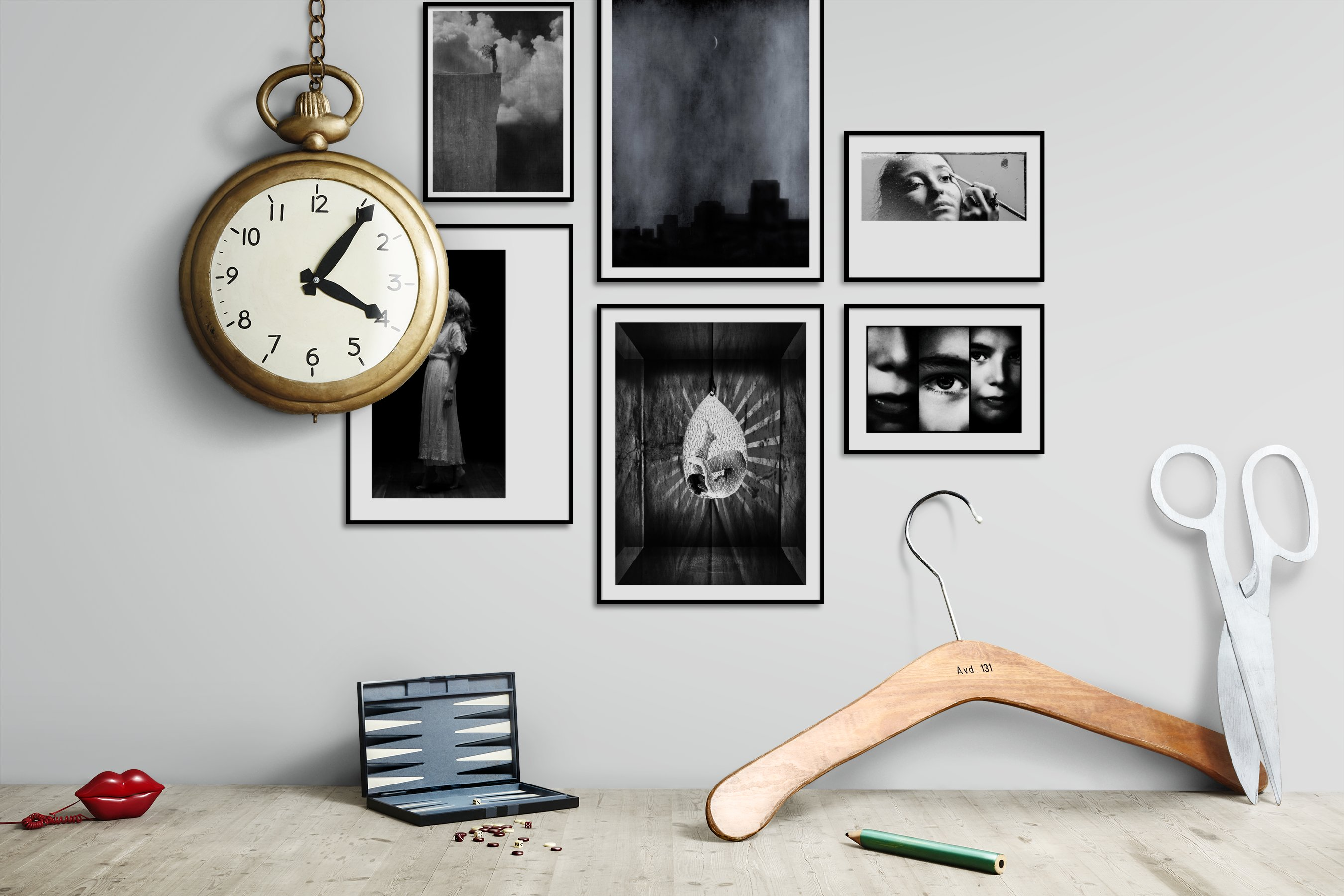 Gallery wall idea with six framed pictures arranged on a wall depicting Fashion & Beauty, Black & White, For the Minimalist, and Artsy