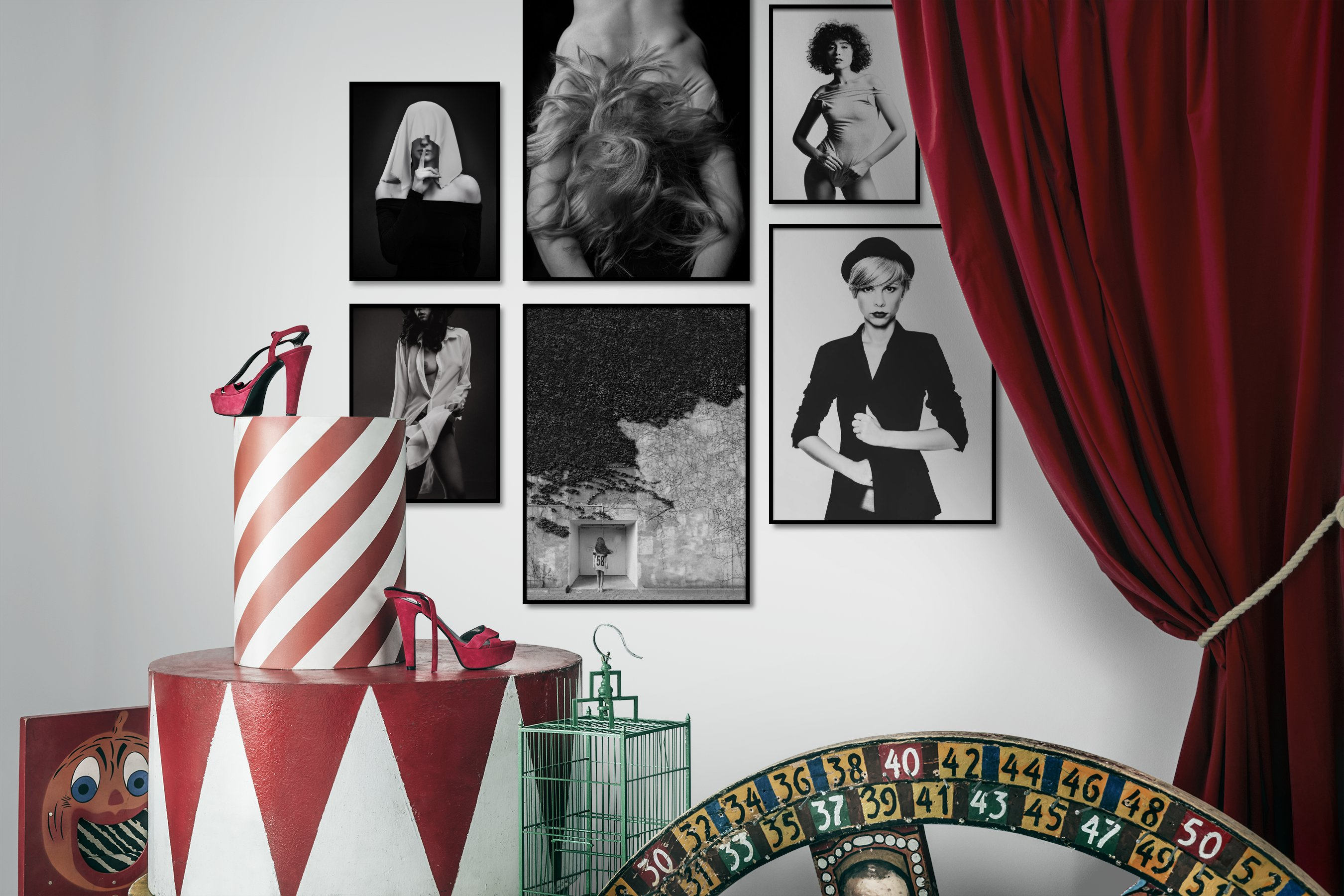 Gallery wall idea with six framed pictures arranged on a wall depicting Fashion & Beauty, Black & White, Dark Tones, Bold, Artsy, For the Moderate, and Bright Tones