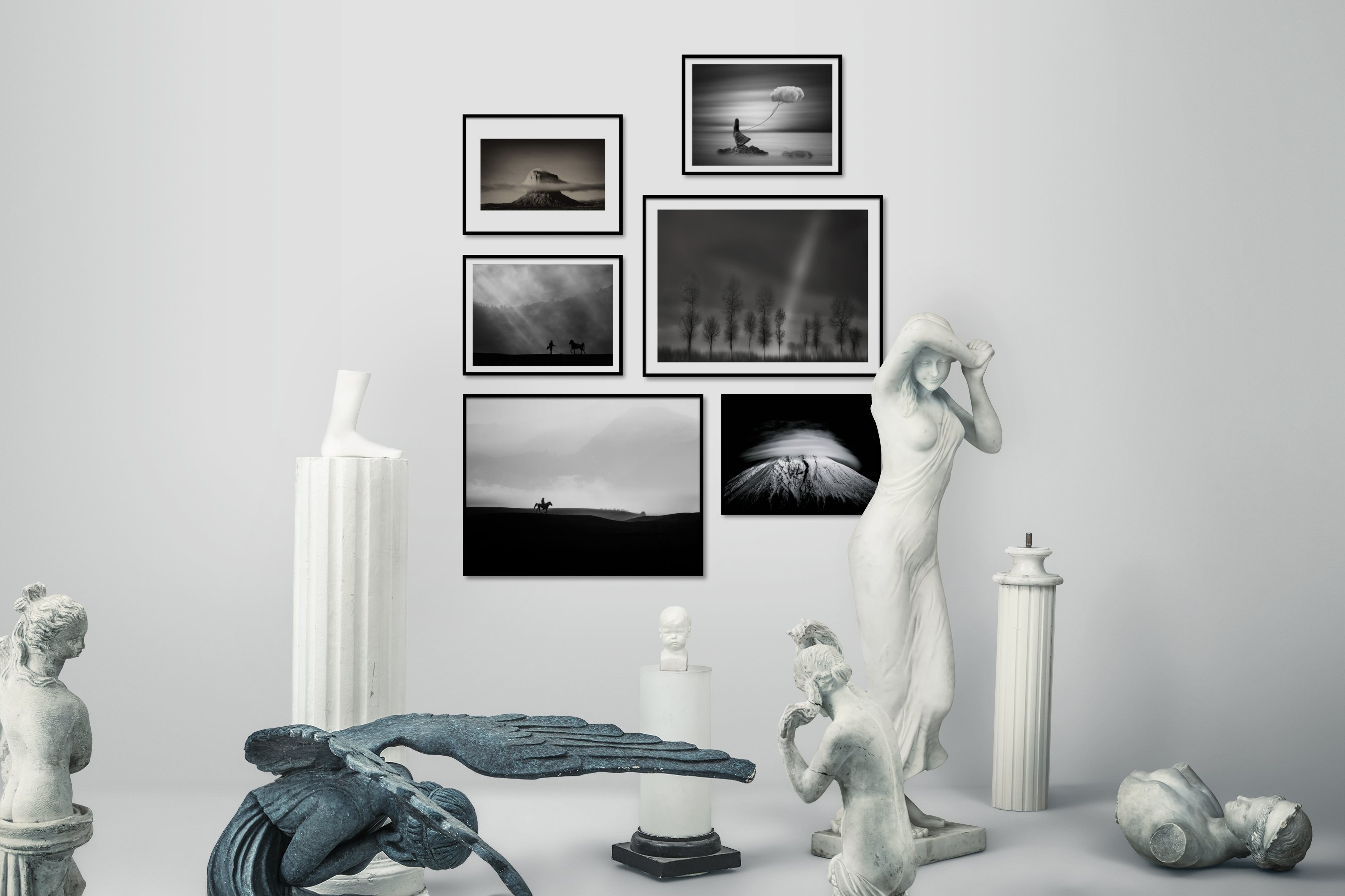 Gallery wall idea with six framed pictures arranged on a wall depicting Black & White, For the Minimalist, Nature, Mindfulness, Artsy, Animals, Country Life, and Dark Tones