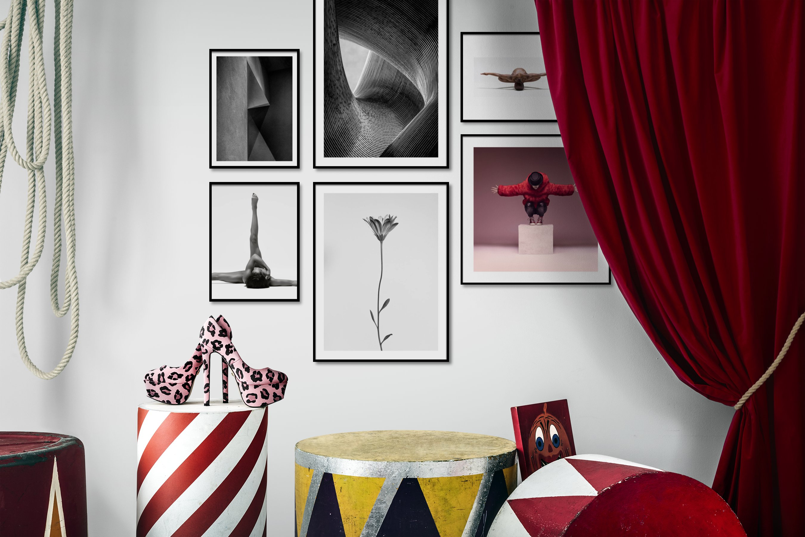 Gallery wall idea with six framed pictures arranged on a wall depicting Black & White, For the Minimalist, For the Moderate, Fashion & Beauty, Bright Tones, Mindfulness, and Flowers & Plants