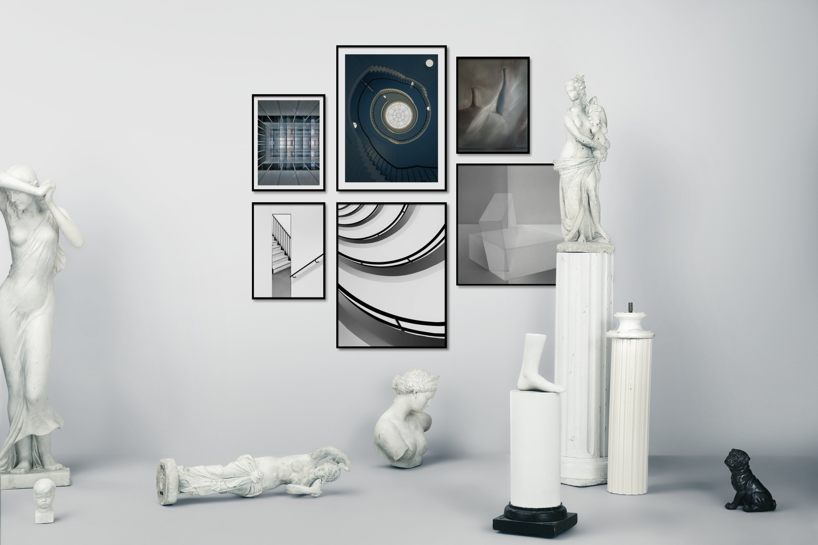 Gallery wall idea with six framed pictures arranged on a wall depicting For the Moderate, Black & White, and For the Minimalist