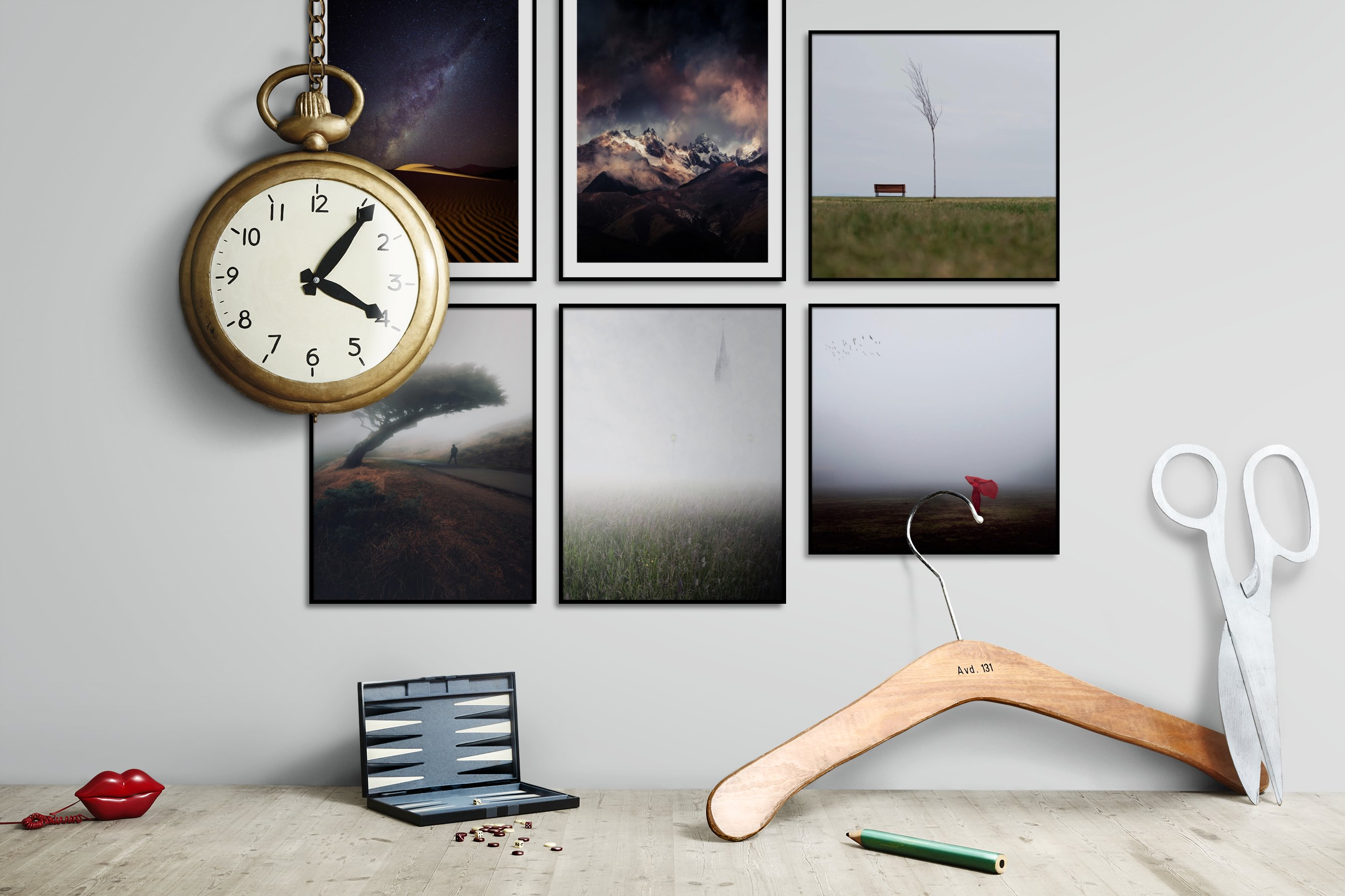 Gallery wall idea with six framed pictures arranged on a wall depicting Nature, For the Minimalist, Country Life, Mindfulness, and Artsy
