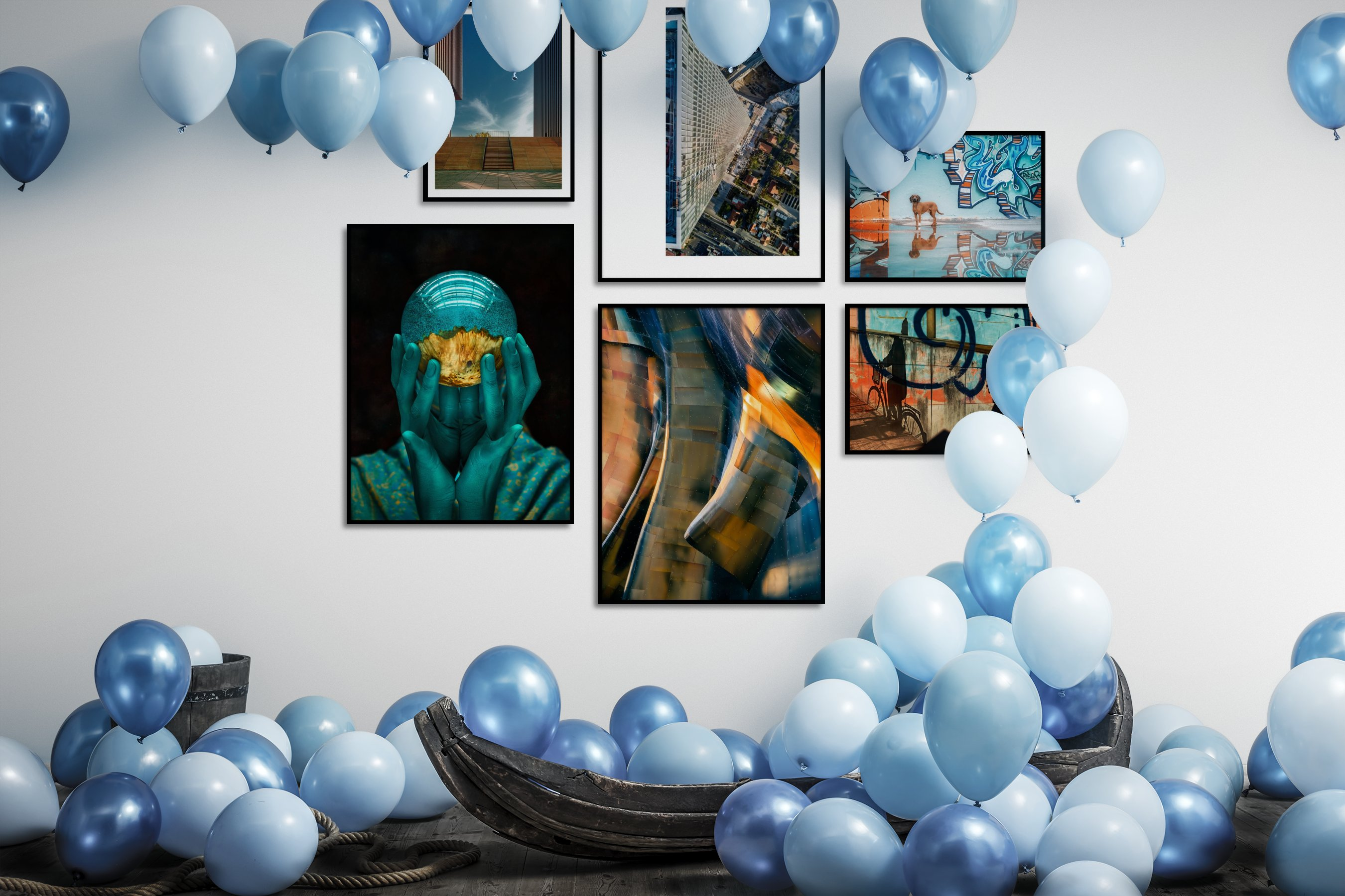 Gallery wall idea with six framed pictures arranged on a wall depicting For the Moderate, City Life, For the Maximalist, and Animals