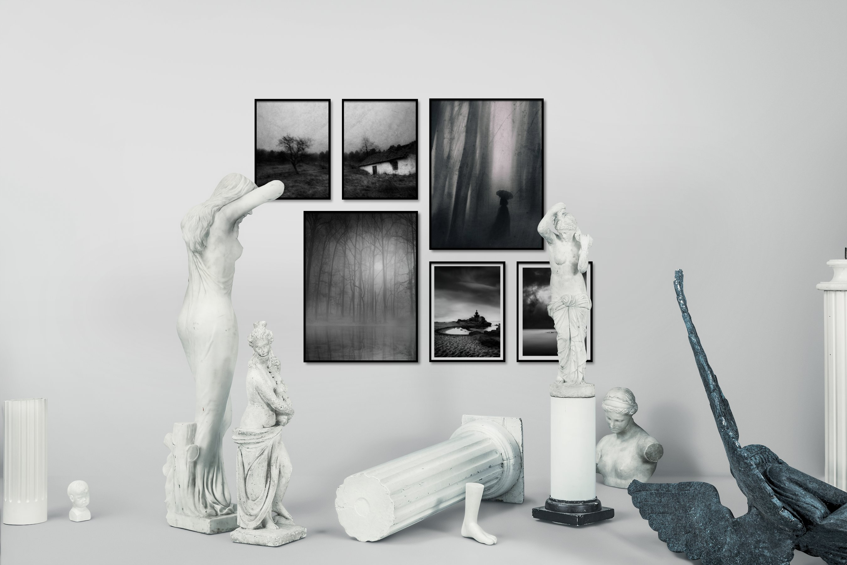 Gallery wall idea with six framed pictures arranged on a wall depicting Black & White, Country Life, Nature, and Vintage