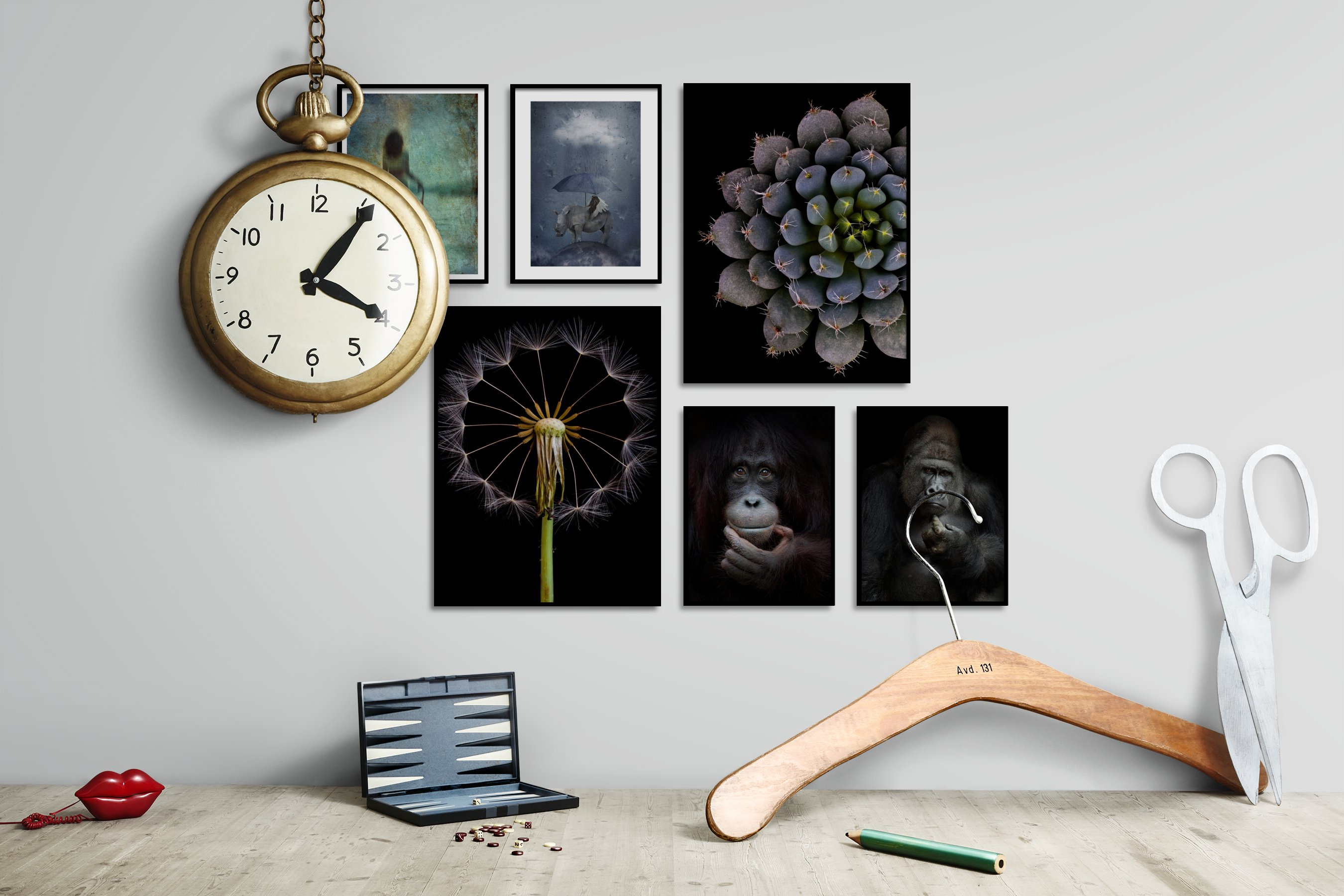 Gallery wall idea with six framed pictures arranged on a wall depicting Artsy, Animals, Dark Tones, For the Minimalist, and Flowers & Plants