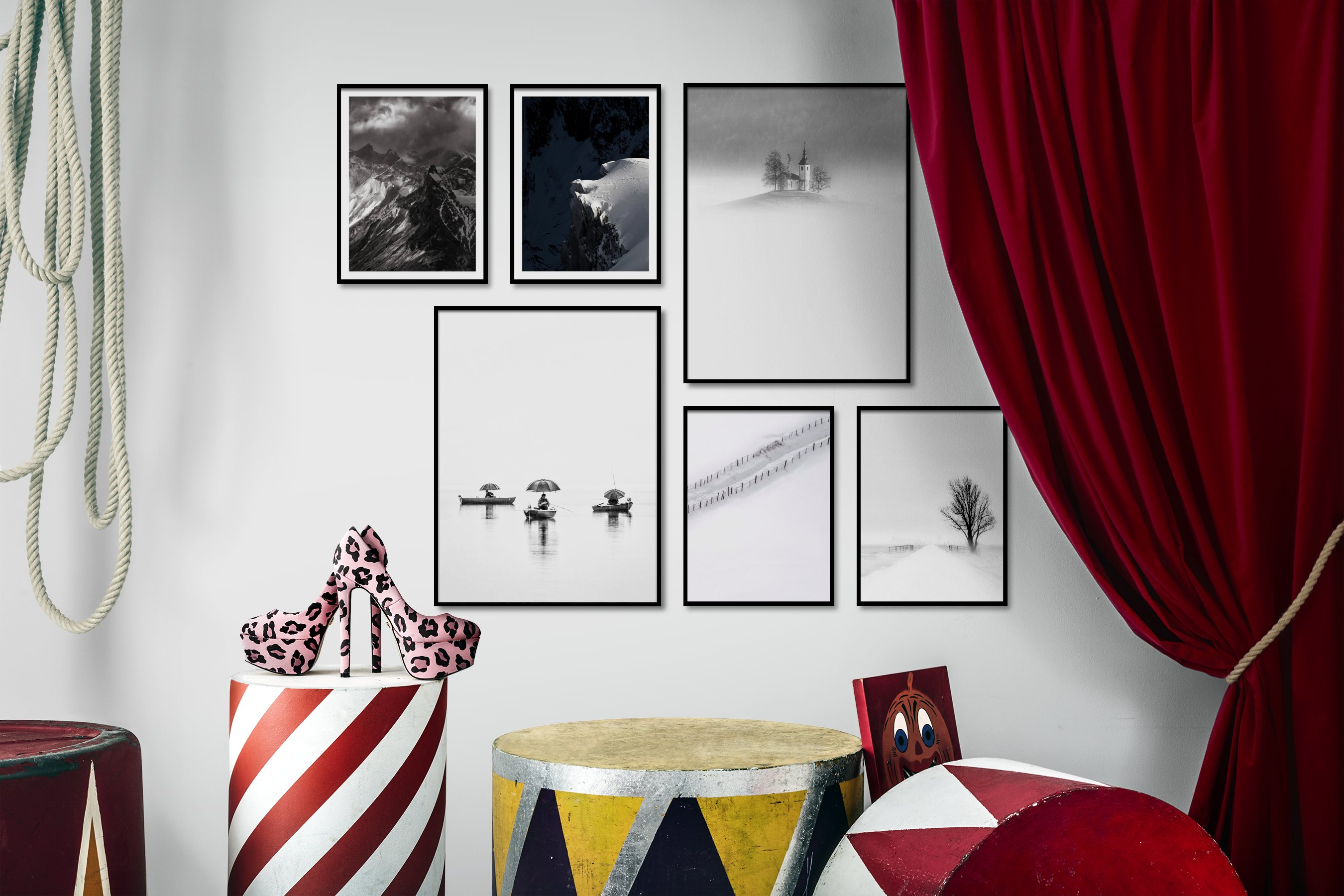 Gallery wall idea with six framed pictures arranged on a wall depicting Black & White, Nature, For the Moderate, Bright Tones, For the Minimalist, Beach & Water, Country Life, and Mindfulness