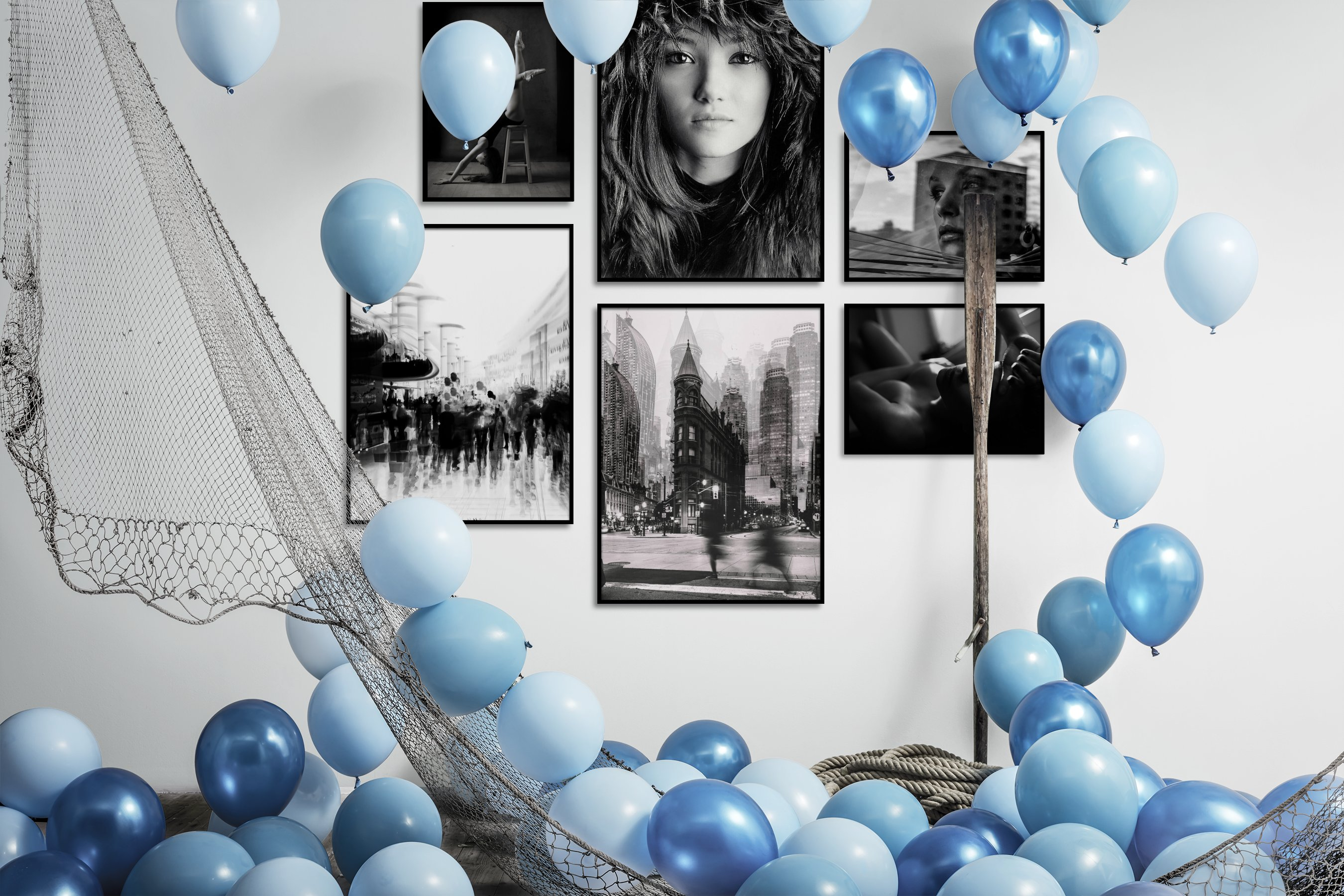 Gallery wall idea with six framed pictures arranged on a wall depicting Fashion & Beauty, Black & White, For the Moderate, City Life, and For the Maximalist