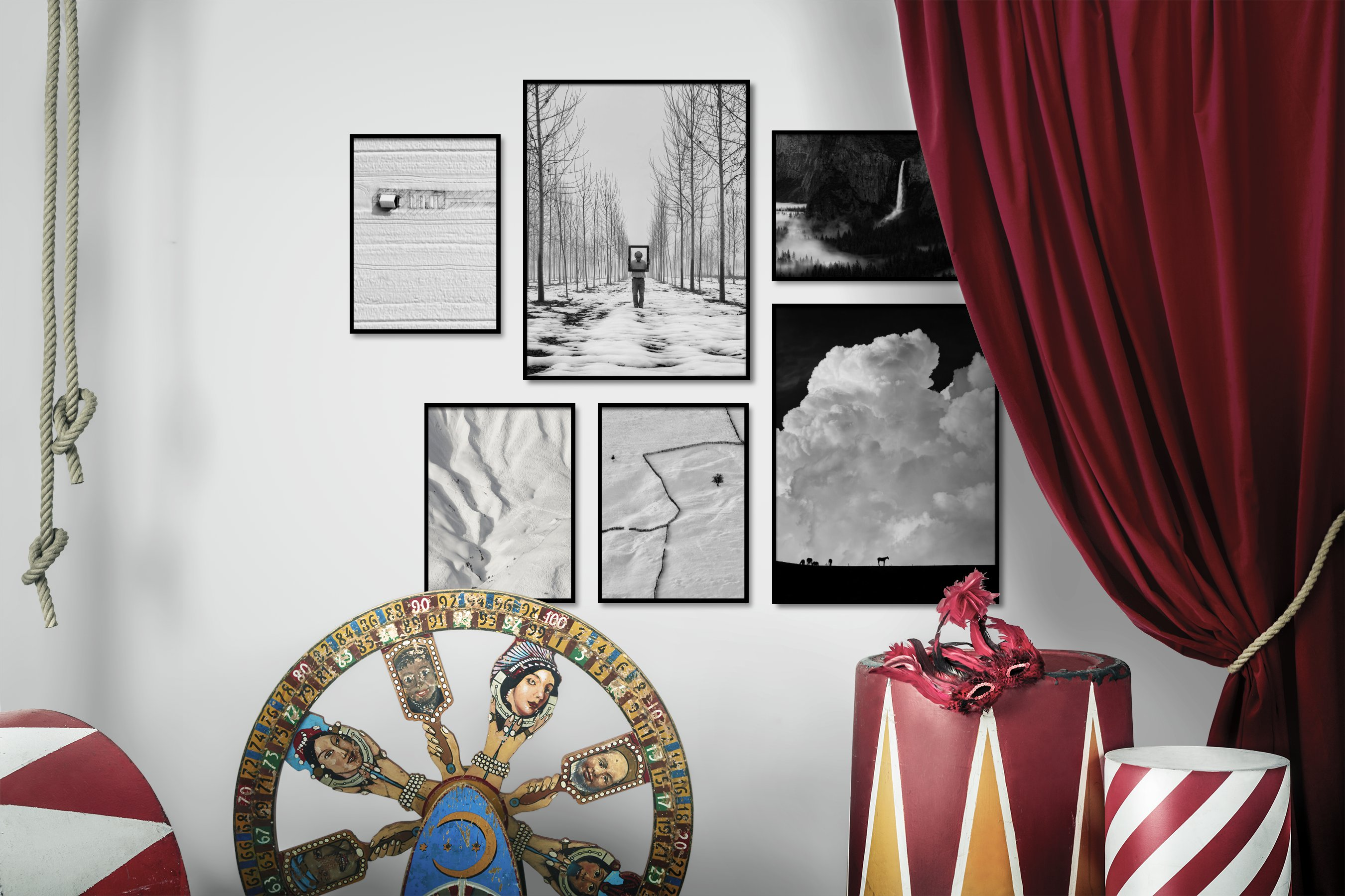 Gallery wall idea with six framed pictures arranged on a wall depicting Black & White, For the Minimalist, Country Life, For the Moderate, Nature, Americana, Mindfulness, and Animals