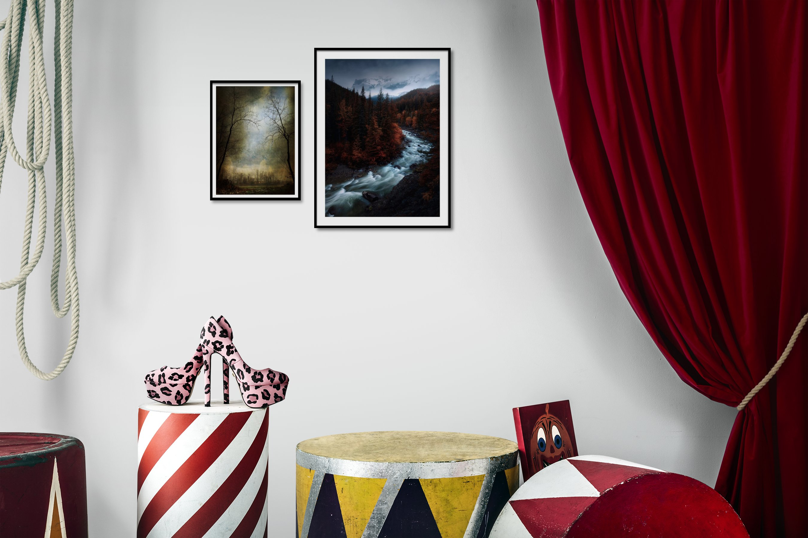 Gallery wall idea with six framed pictures arranged on a wall depicting Nature, Country Life, Artsy, Dark Tones, and For the Minimalist