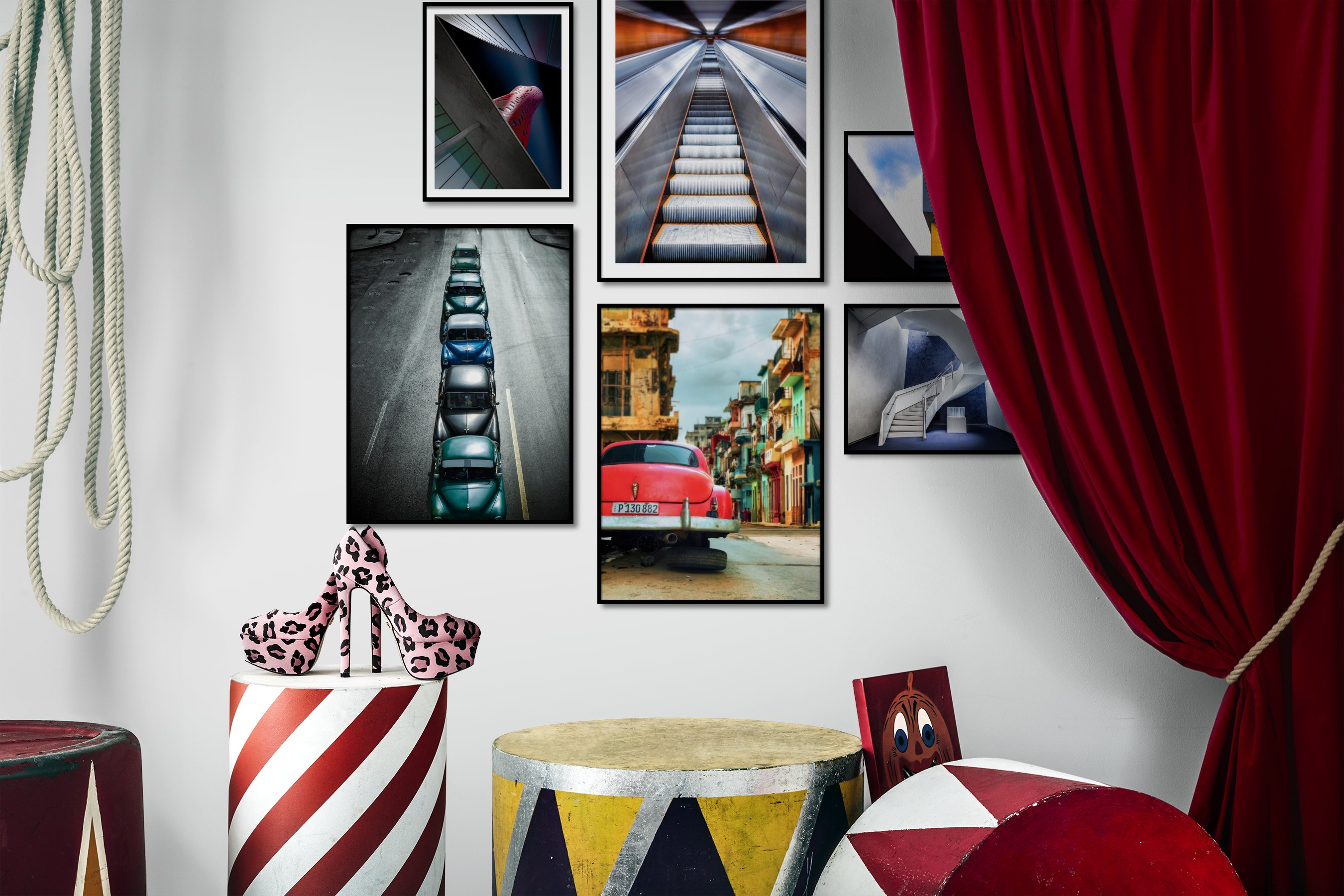 Gallery wall idea with six framed pictures arranged on a wall depicting For the Moderate, City Life, and Vintage