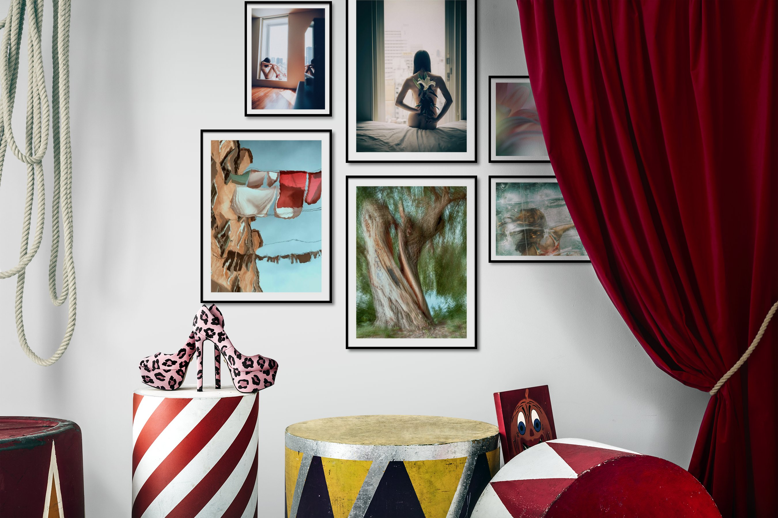 Gallery wall idea with six framed pictures arranged on a wall depicting Fashion & Beauty, City Life, For the Moderate, For the Maximalist, Nature, and Artsy
