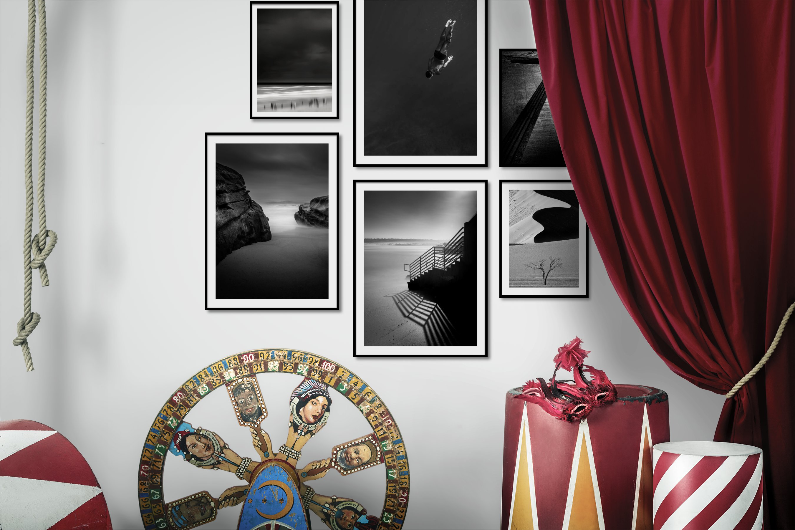 Gallery wall idea with six framed pictures arranged on a wall depicting Black & White, For the Minimalist, Beach & Water, For the Moderate, and Nature