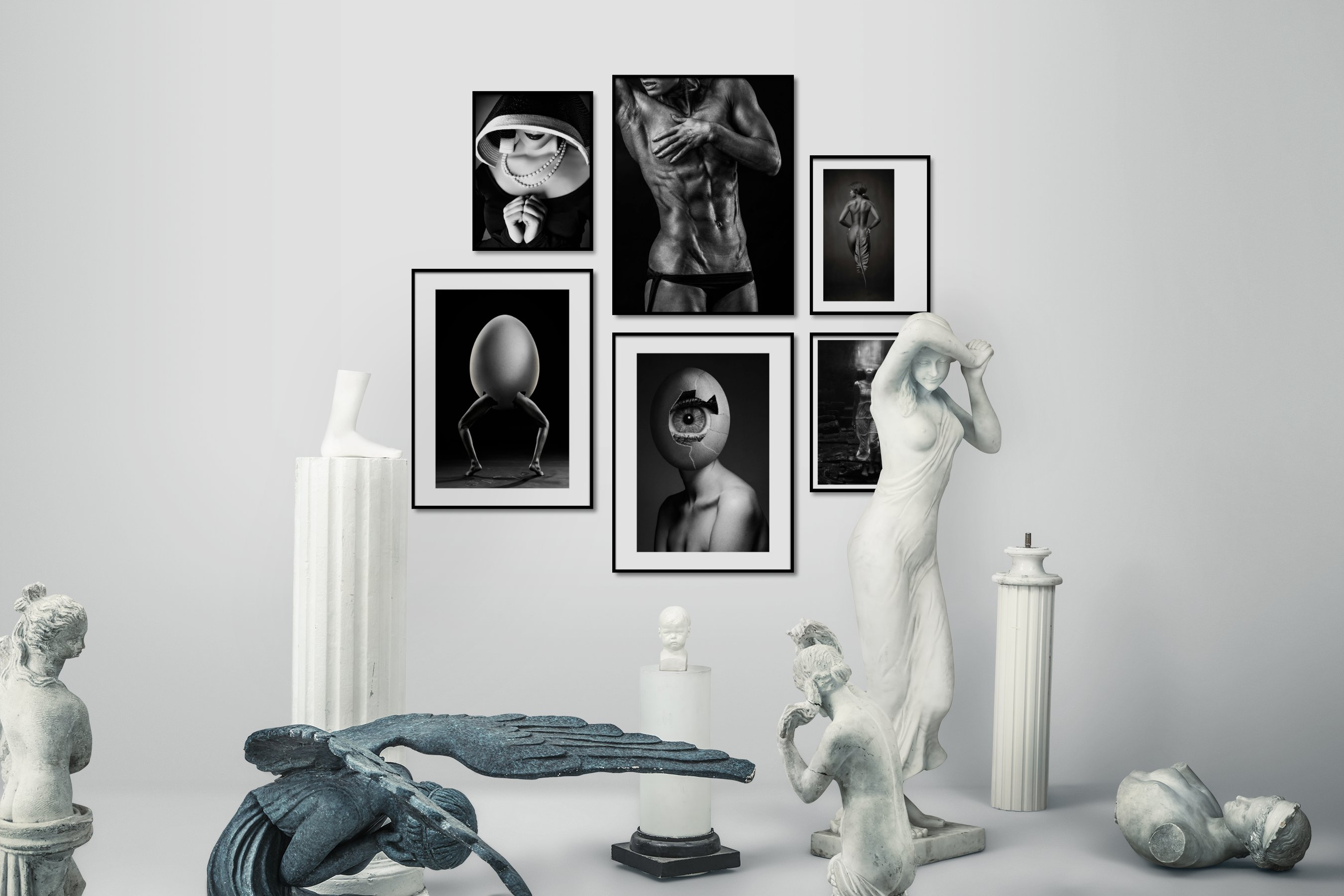 Gallery wall idea with six framed pictures arranged on a wall depicting Fashion & Beauty, Black & White, Dark Tones, Artsy, and For the Minimalist