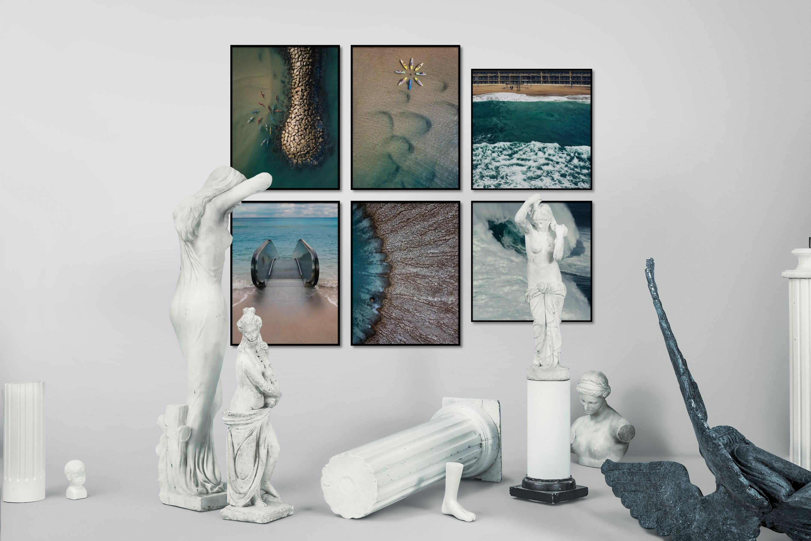 Gallery wall idea with six framed pictures arranged on a wall depicting For the Moderate, Beach & Water, For the Minimalist, Mindfulness, and Artsy