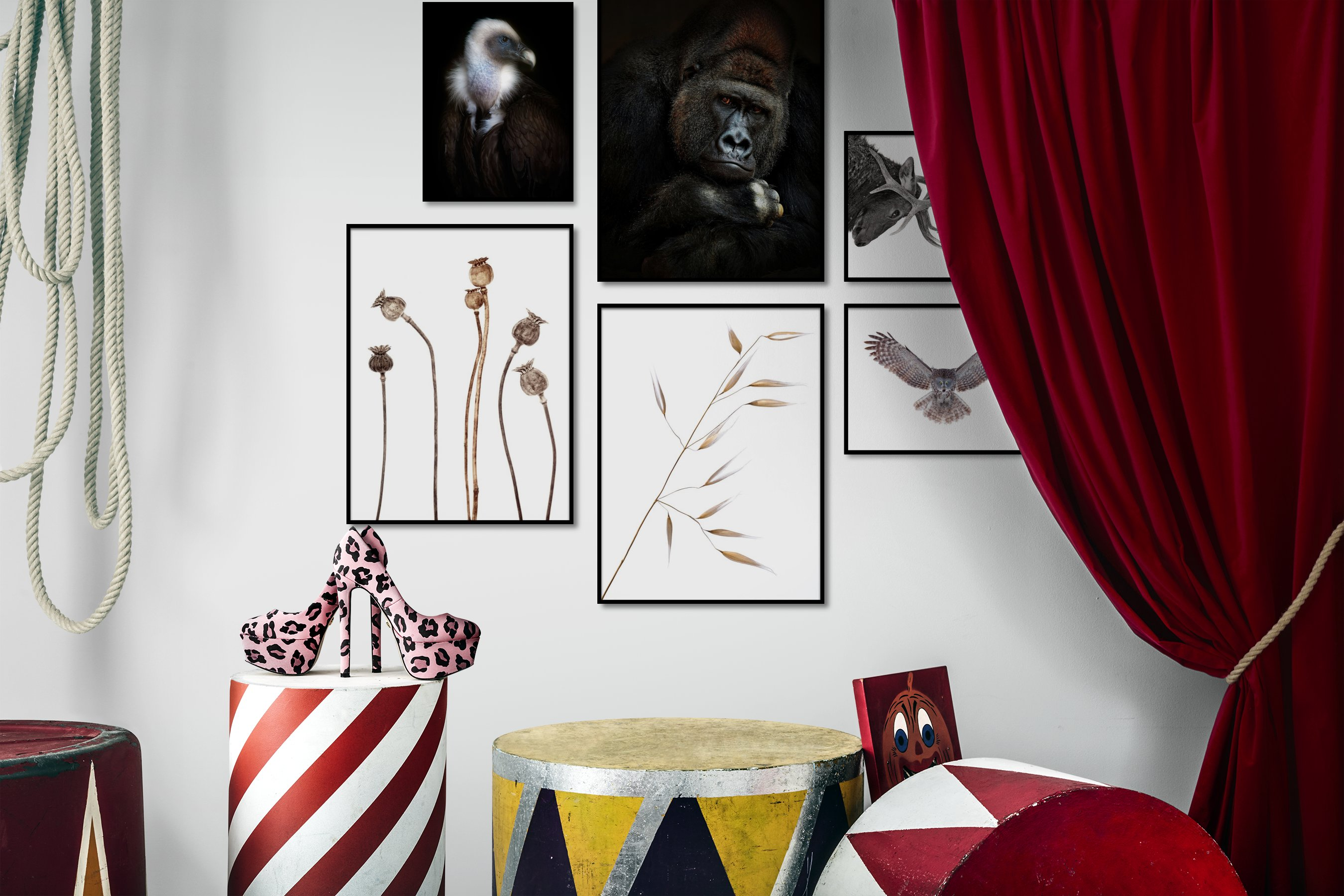 Gallery wall idea with six framed pictures arranged on a wall depicting Dark Tones, Animals, Bright Tones, For the Moderate, Flowers & Plants, For the Minimalist, and Mindfulness