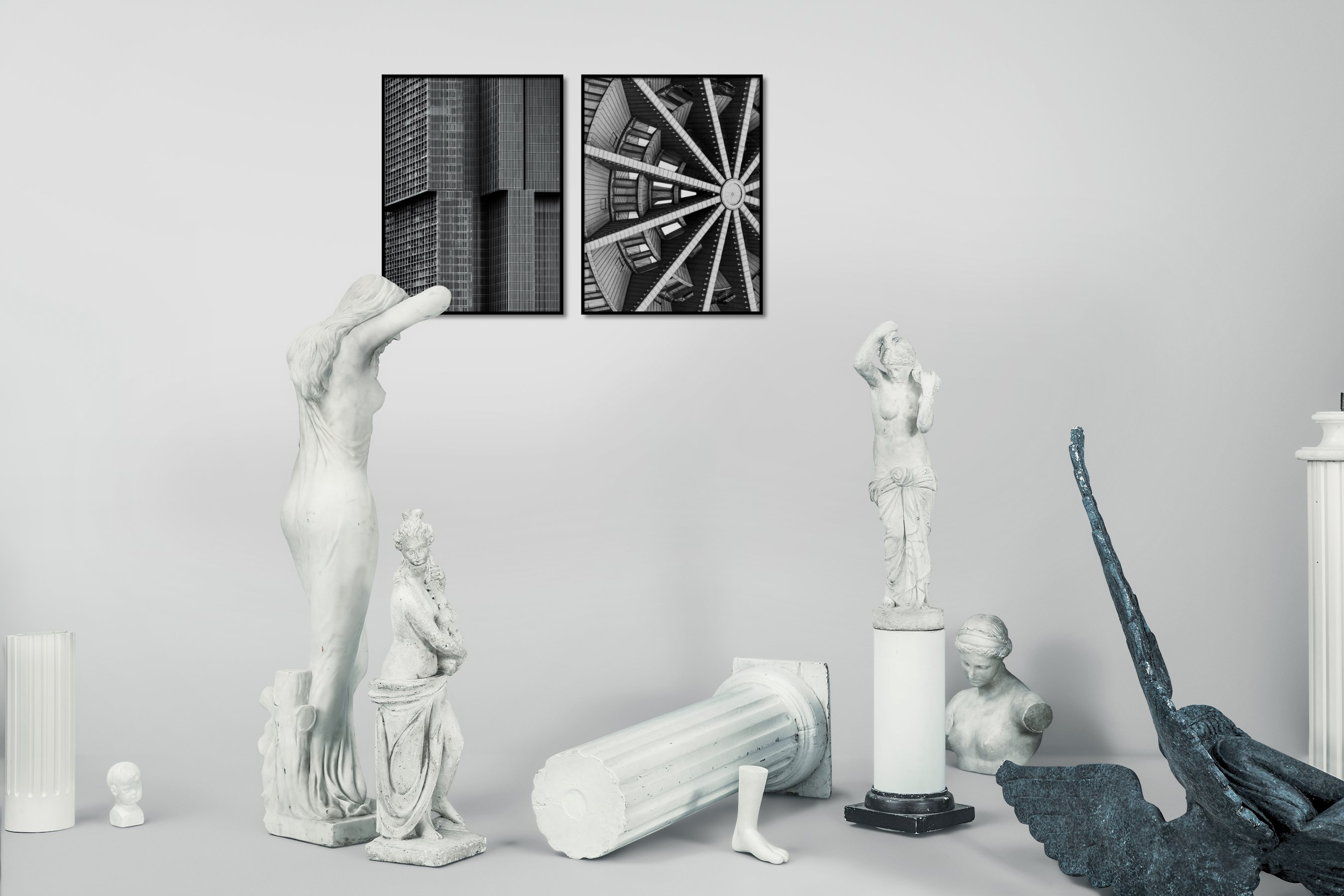Gallery wall idea with six framed pictures arranged on a wall depicting Black & White, For the Maximalist, City Life, For the Moderate, and Fashion & Beauty