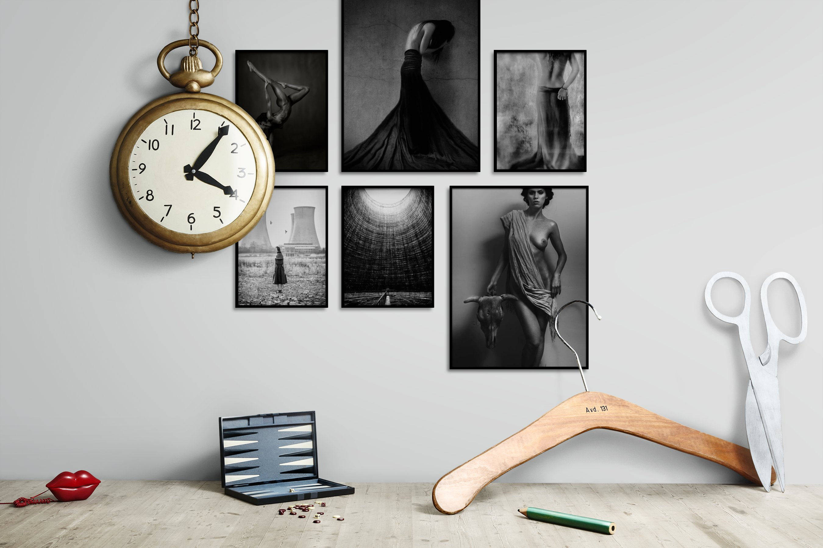 Gallery wall idea with six framed pictures arranged on a wall depicting Fashion & Beauty, Black & White, For the Minimalist, Bold, Artsy, Country Life, and For the Maximalist