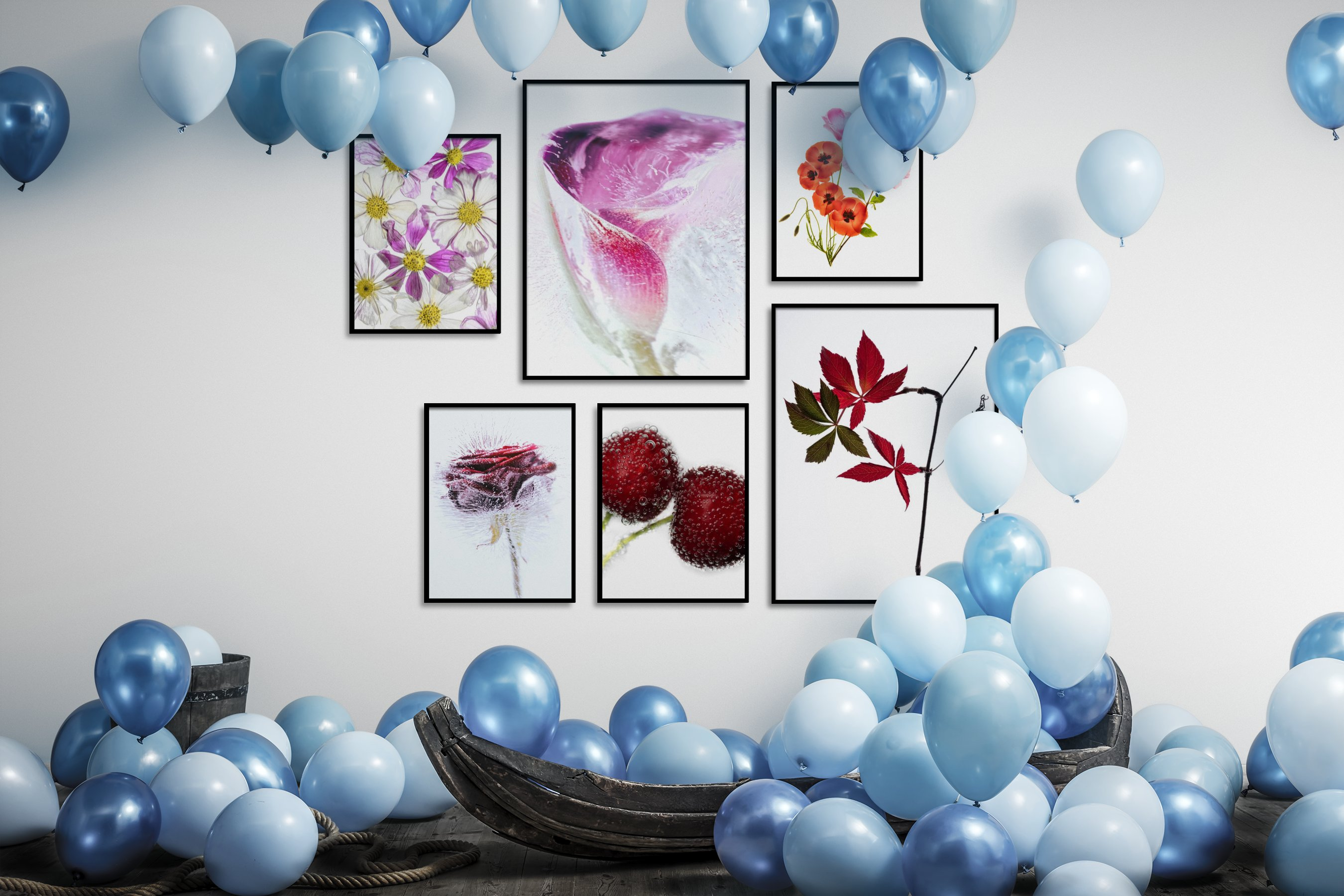 Gallery wall idea with six framed pictures arranged on a wall depicting Colorful, For the Moderate, Flowers & Plants, Bright Tones, and For the Minimalist