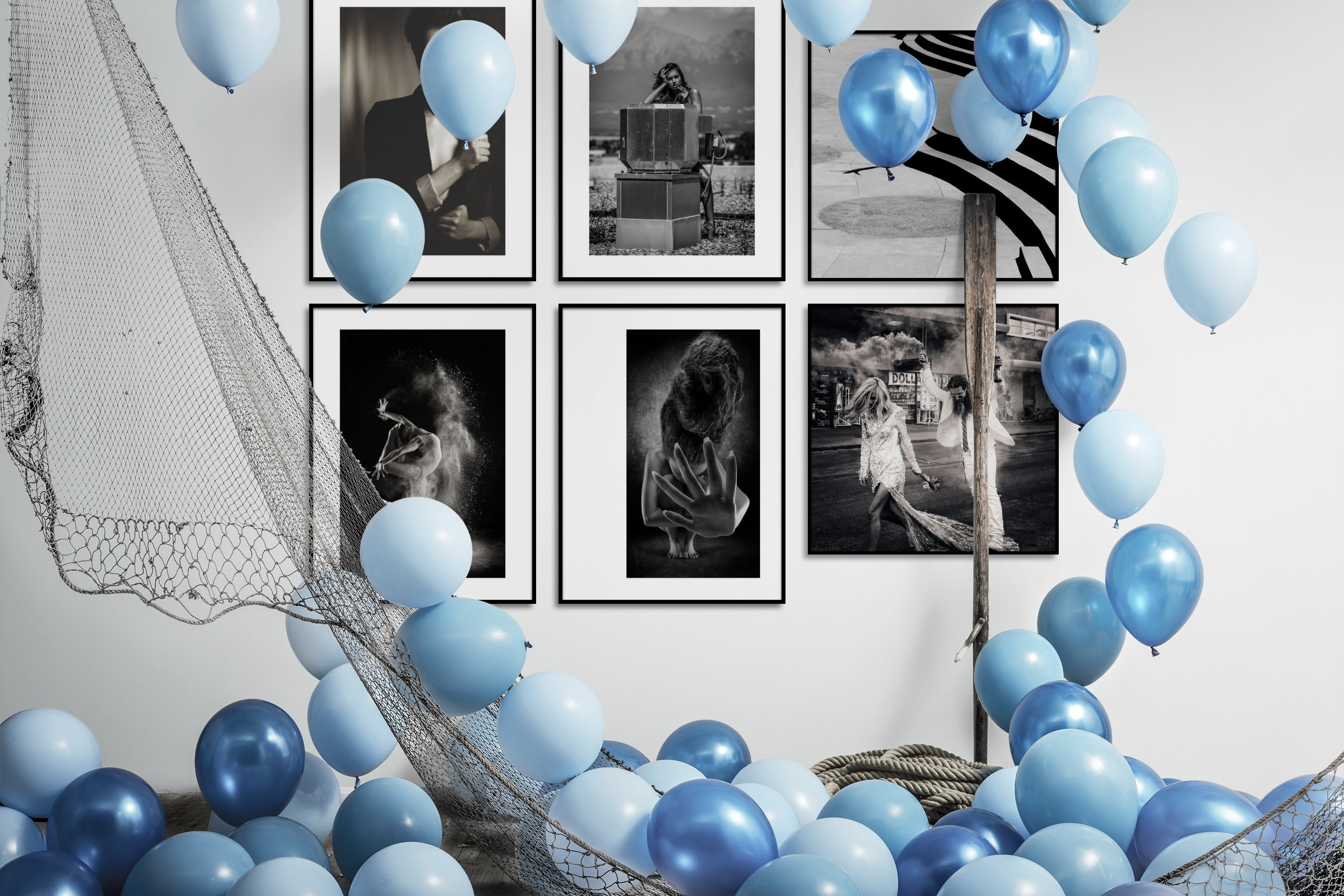 Gallery wall idea with six framed pictures arranged on a wall depicting Fashion & Beauty, Black & White, Vintage, For the Moderate, and City Life