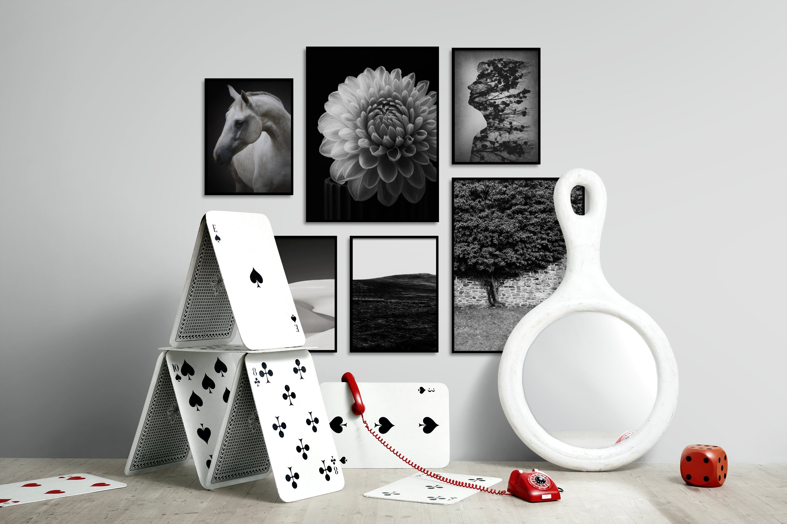 Gallery wall idea with six framed pictures arranged on a wall depicting Dark Tones, Animals, Country Life, Black & White, For the Moderate, Flowers & Plants, For the Minimalist, and Nature