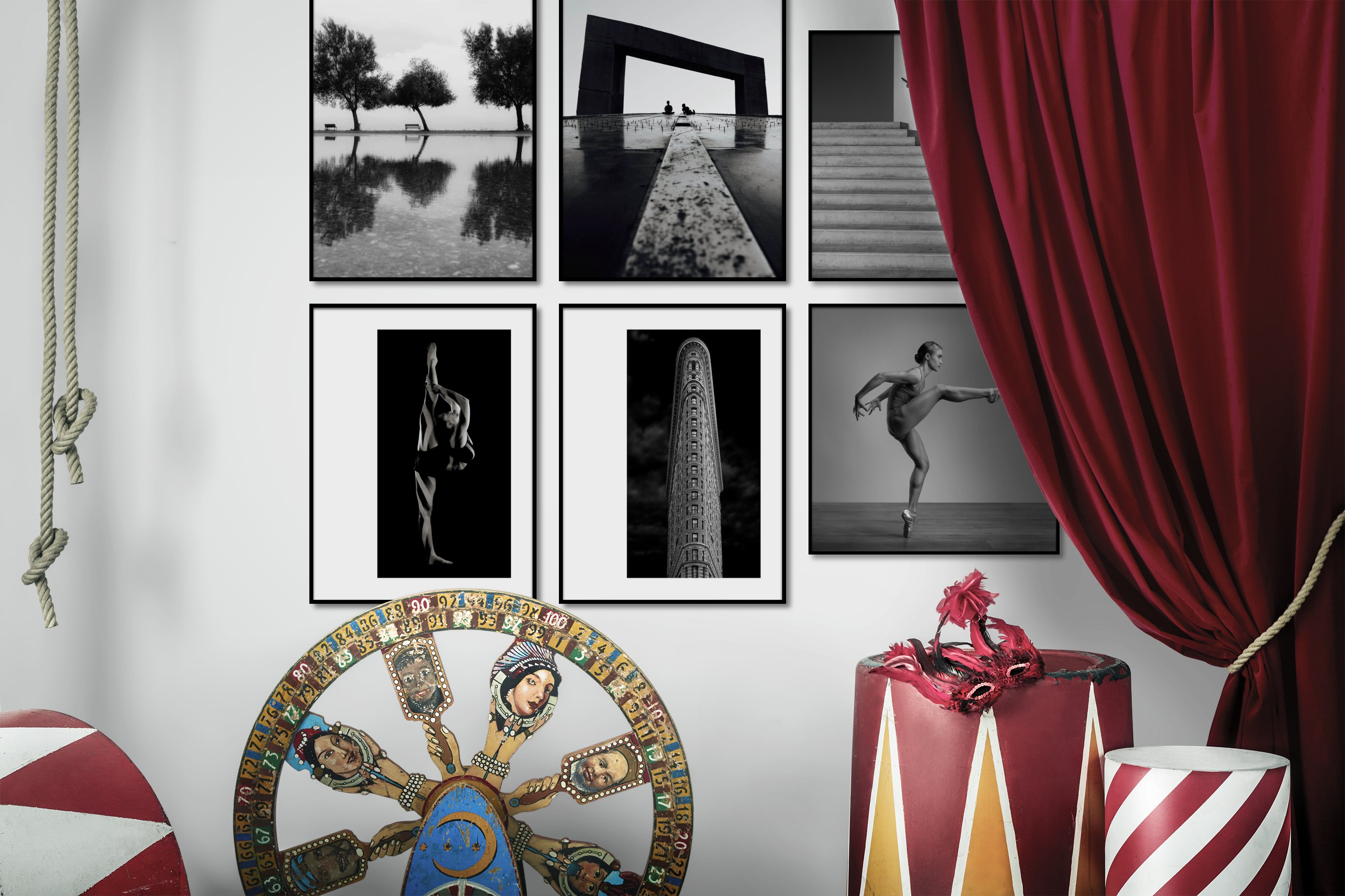 Gallery wall idea with six framed pictures arranged on a wall depicting Black & White, Mindfulness, For the Moderate, Fashion & Beauty, Dark Tones, For the Minimalist, City Life, and Americana