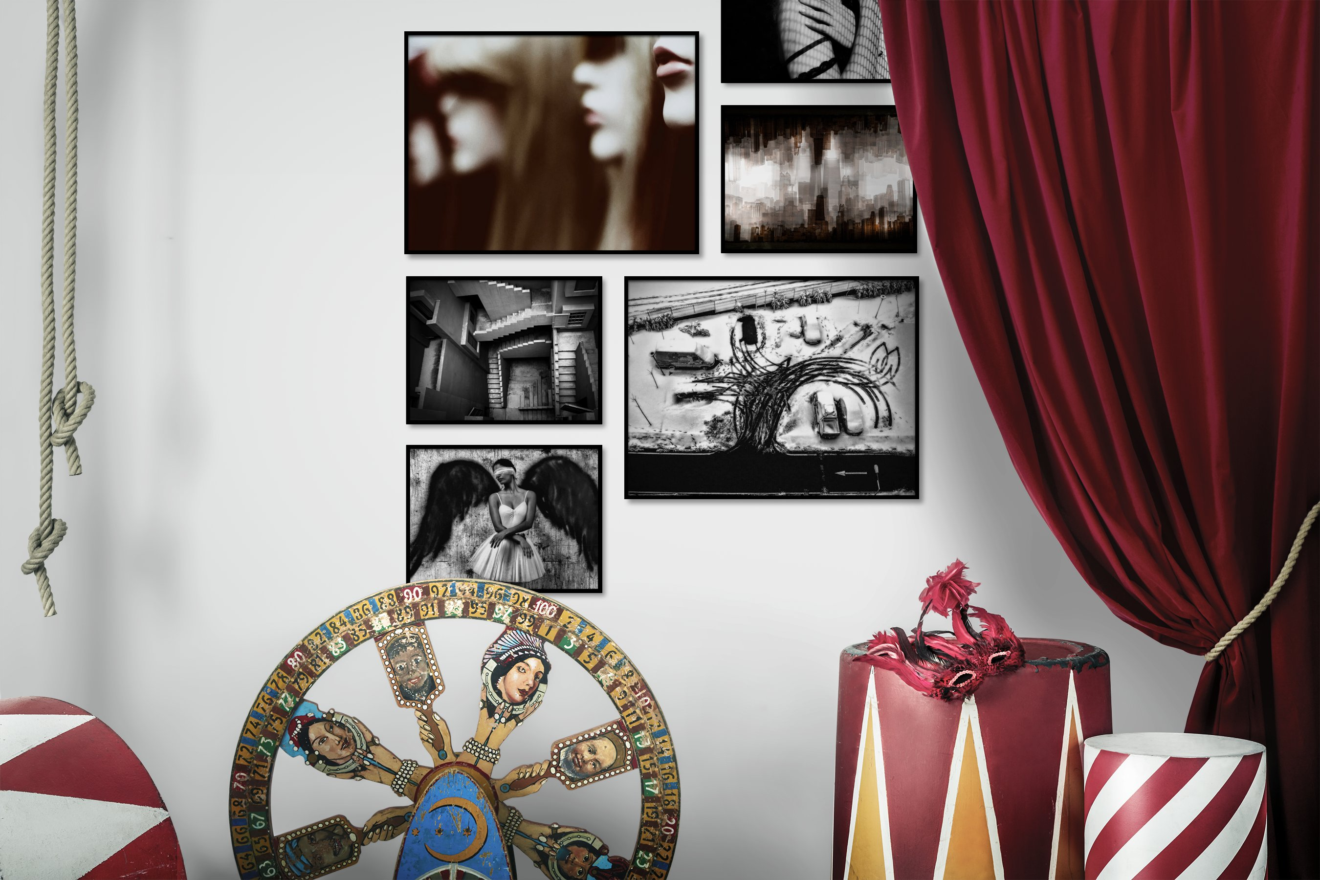 Gallery wall idea with six framed pictures arranged on a wall depicting Artsy, Vintage, For the Maximalist, City Life, Americana, Black & White, For the Moderate, and Fashion & Beauty