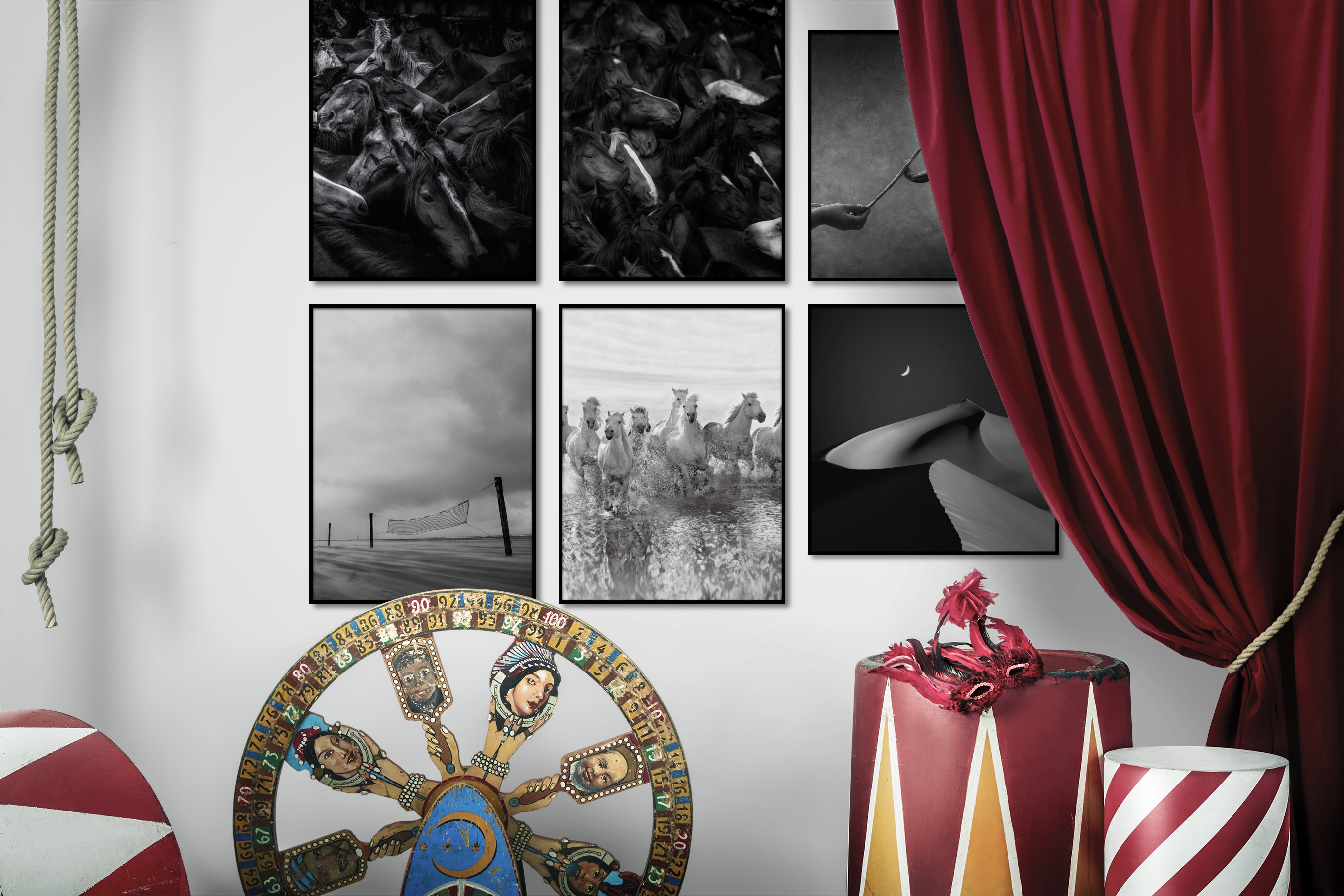 Gallery wall idea with six framed pictures arranged on a wall depicting Black & White, For the Maximalist, Animals, Country Life, For the Minimalist, Beach & Water, and For the Moderate