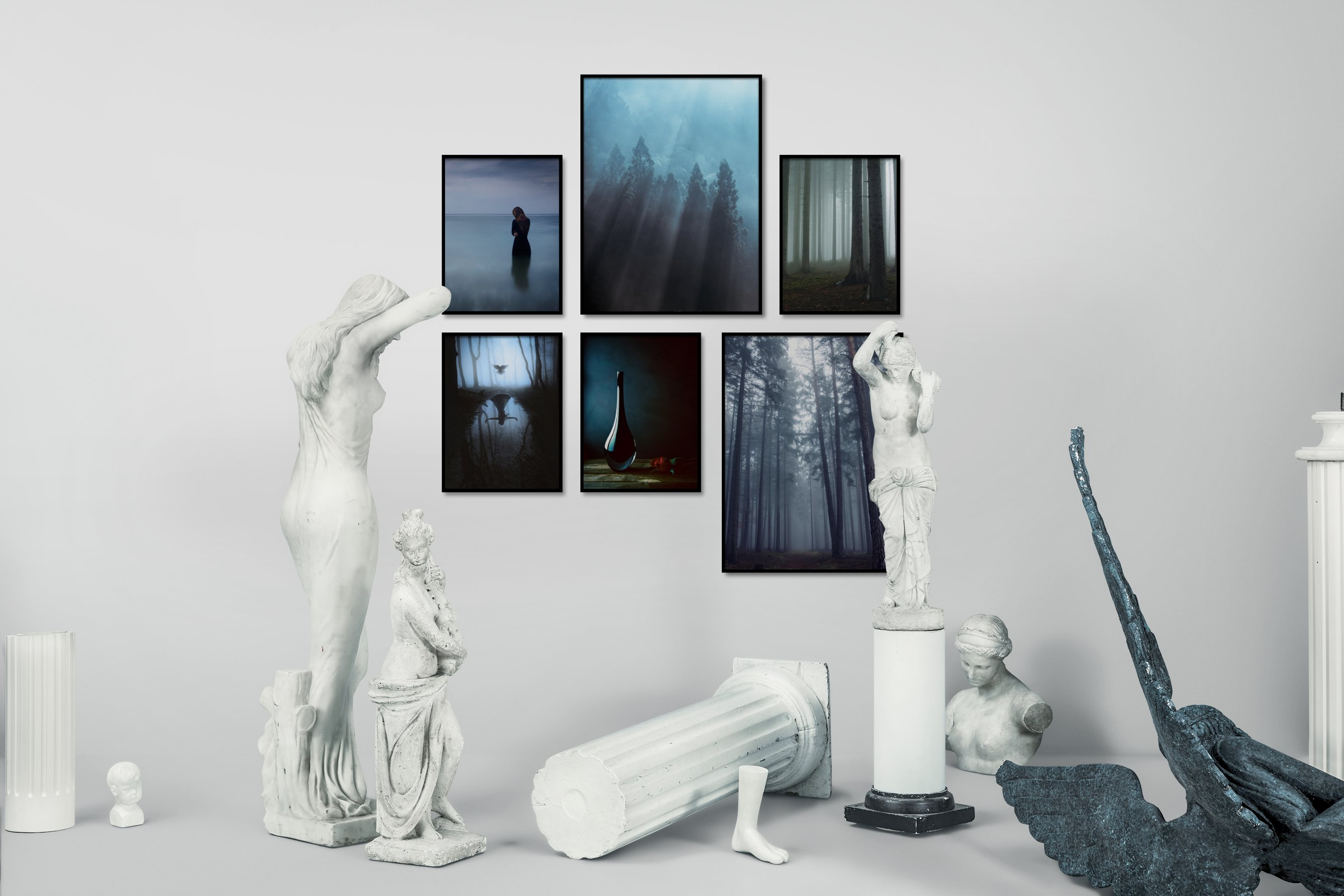 Gallery wall idea with six framed pictures arranged on a wall depicting For the Minimalist, Beach & Water, Mindfulness, Nature, and Artsy