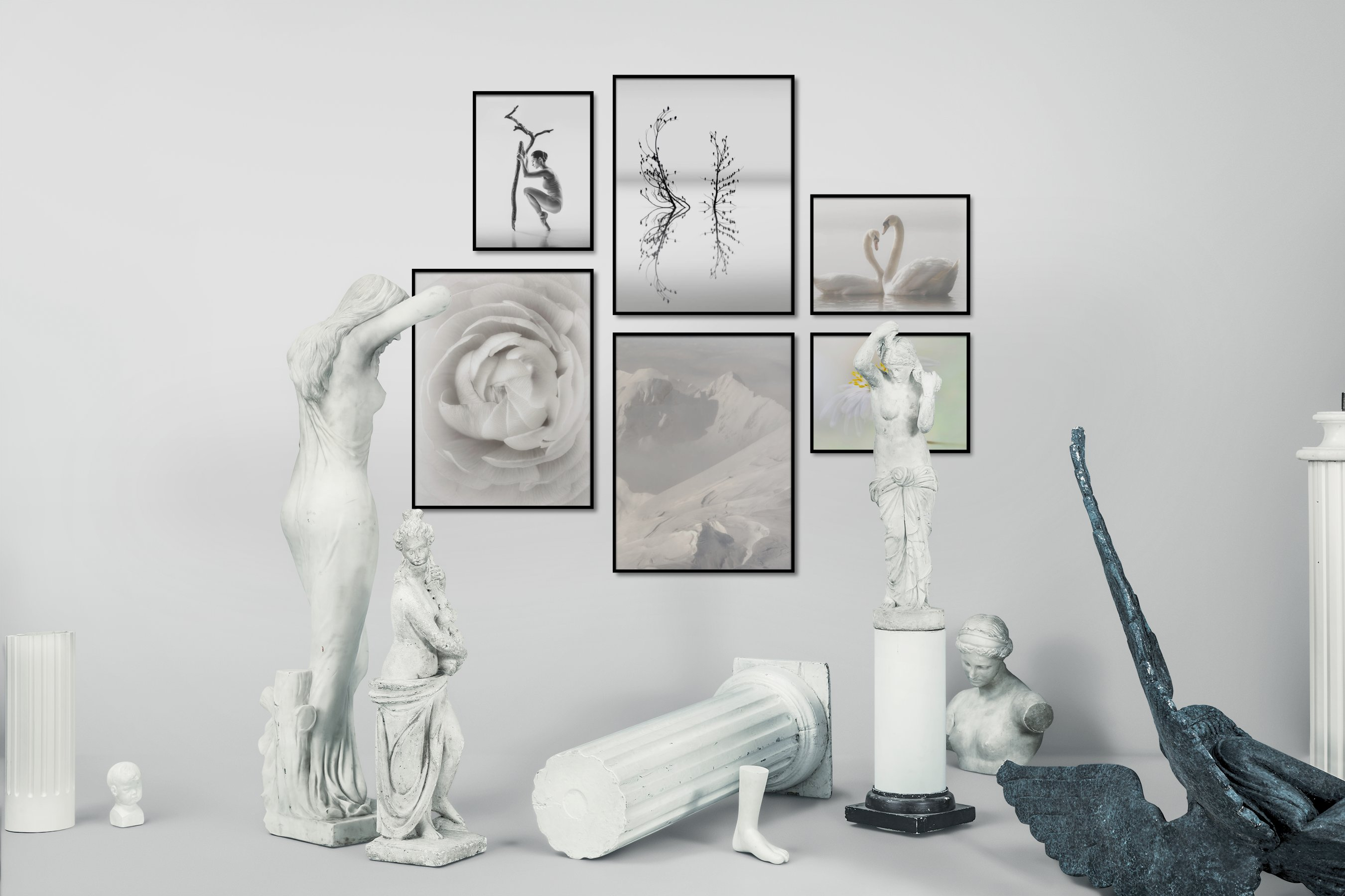 Gallery wall idea with six framed pictures arranged on a wall depicting Fashion & Beauty, Black & White, Bright Tones, For the Minimalist, Flowers & Plants, Mindfulness, For the Moderate, Nature, and Animals
