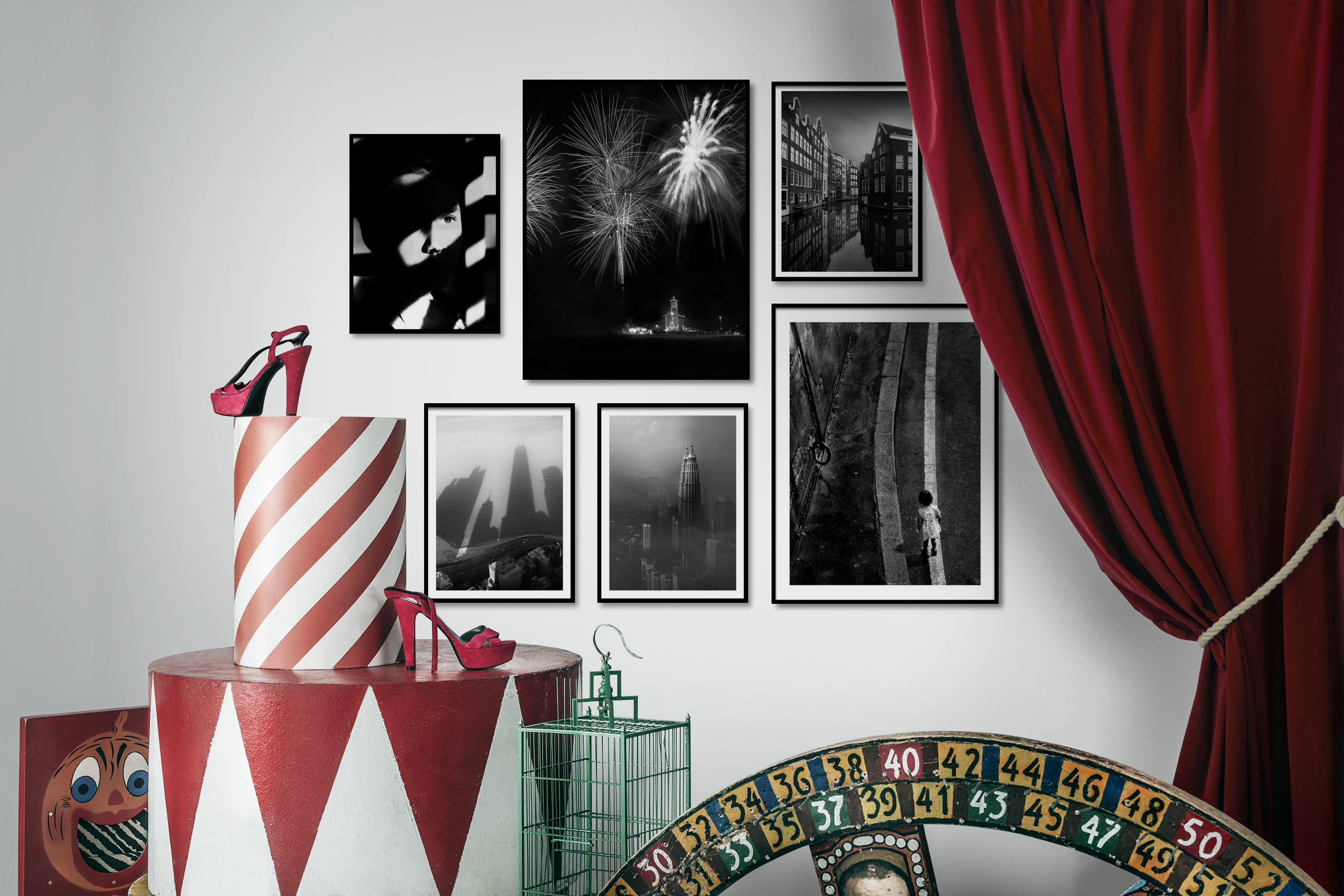 Gallery wall idea with six framed pictures arranged on a wall depicting Artsy, Black & White, For the Moderate, Dark Tones, Country Life, City Life, and Americana