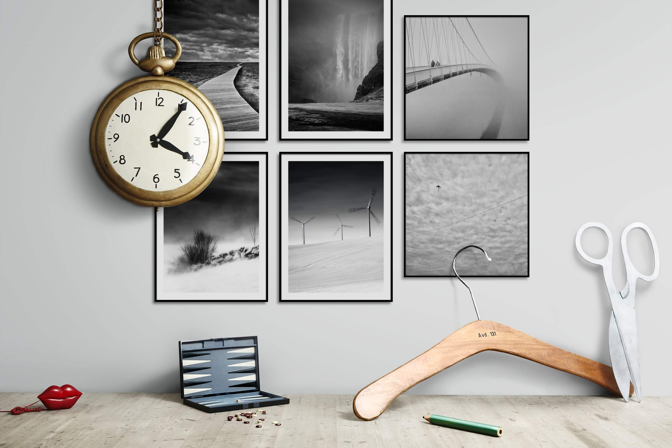 Gallery wall idea with six framed pictures arranged on a wall depicting Black & White, Nature, Mindfulness, Country Life, For the Minimalist, and City Life