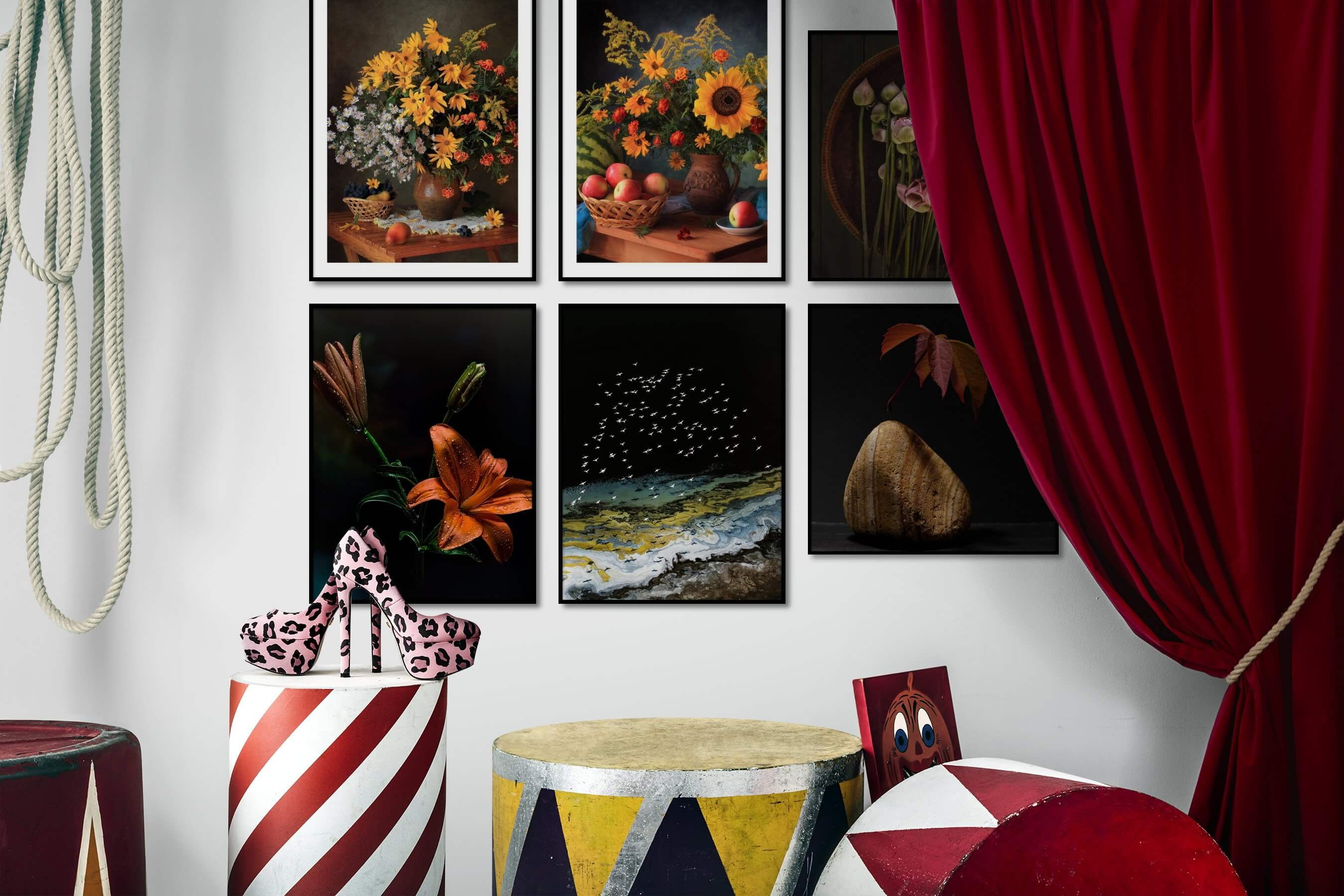 Gallery wall idea with six framed pictures arranged on a wall depicting Flowers & Plants, Vintage, Dark Tones, For the Moderate, Nature, For the Minimalist, and Mindfulness