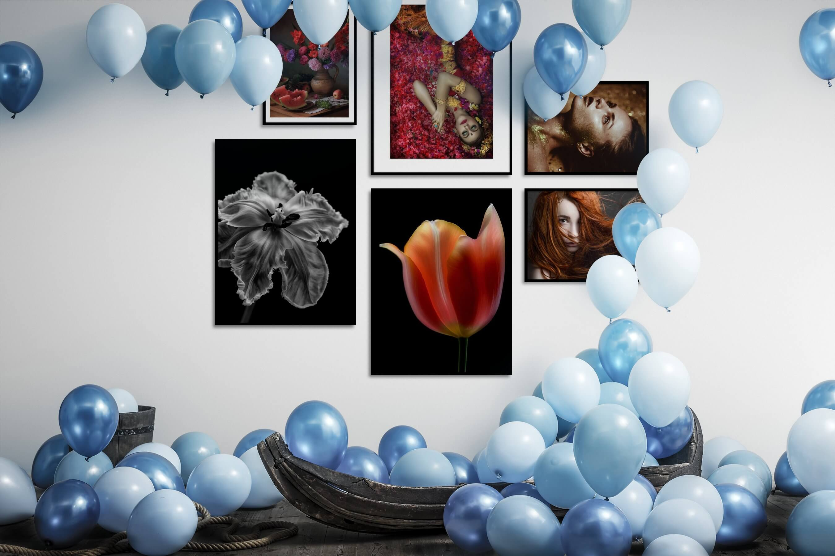 Gallery wall idea with six framed pictures arranged on a wall depicting Flowers & Plants, Vintage, Fashion & Beauty, Colorful, Black & White, Dark Tones, and For the Minimalist