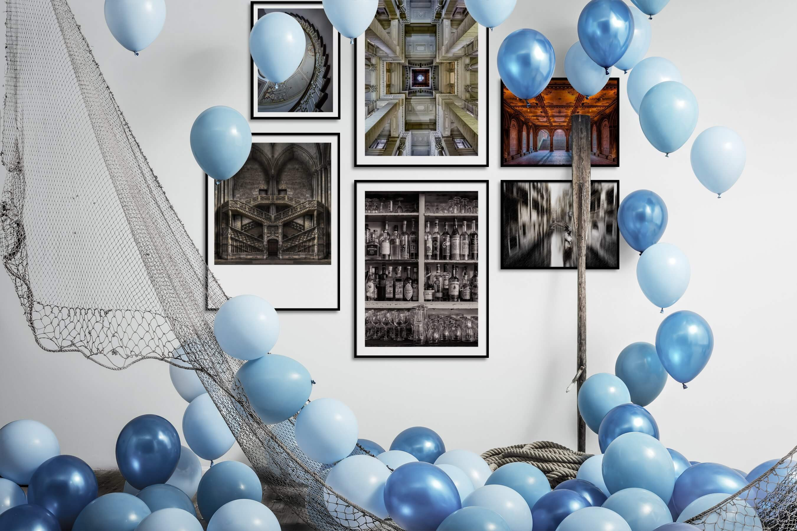 Gallery wall idea with six framed pictures arranged on a wall depicting For the Maximalist, Vintage, and City Life