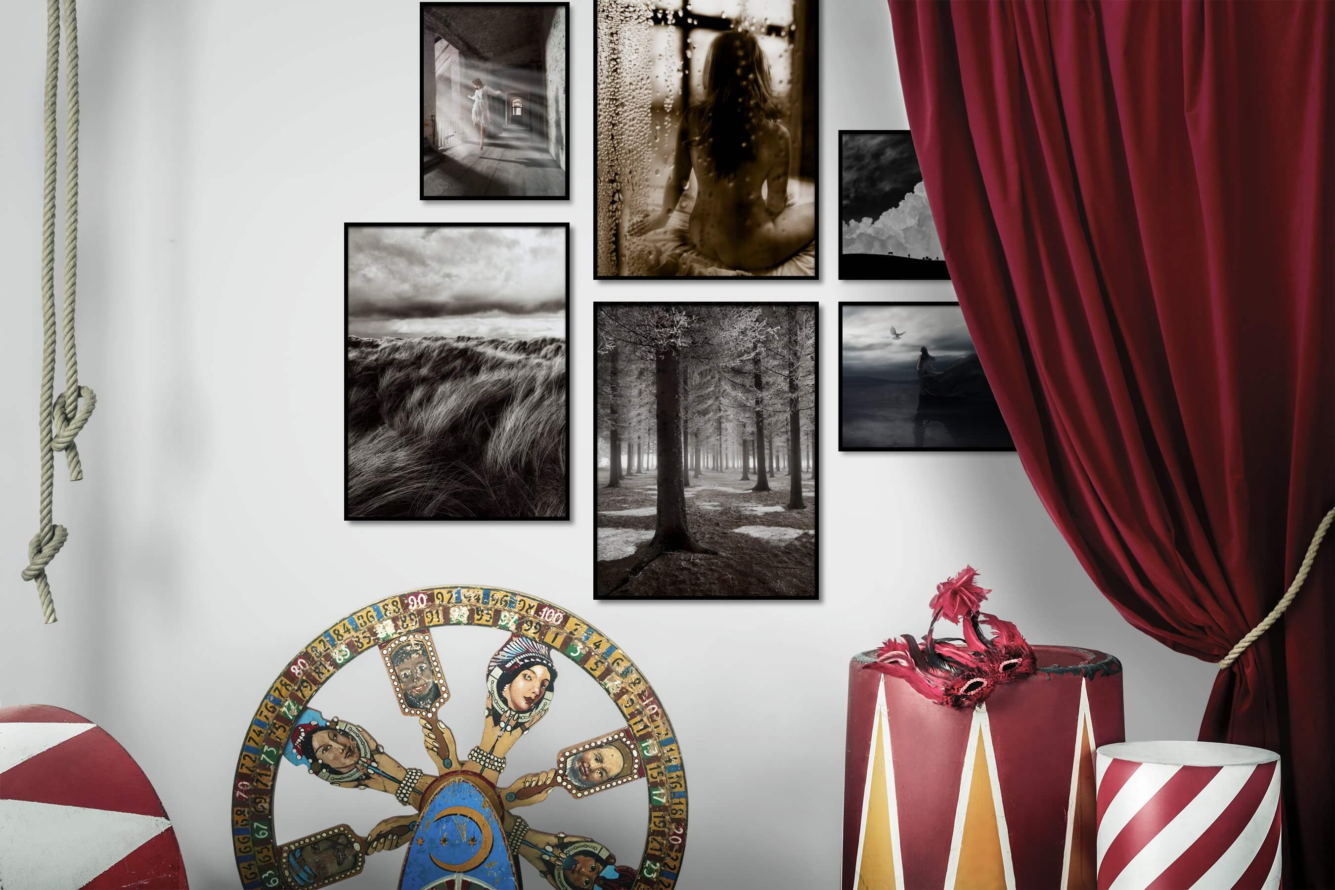 Gallery wall idea with six framed pictures arranged on a wall depicting Artsy, Fashion & Beauty, Black & White, Nature, Animals, Country Life, and Mindfulness