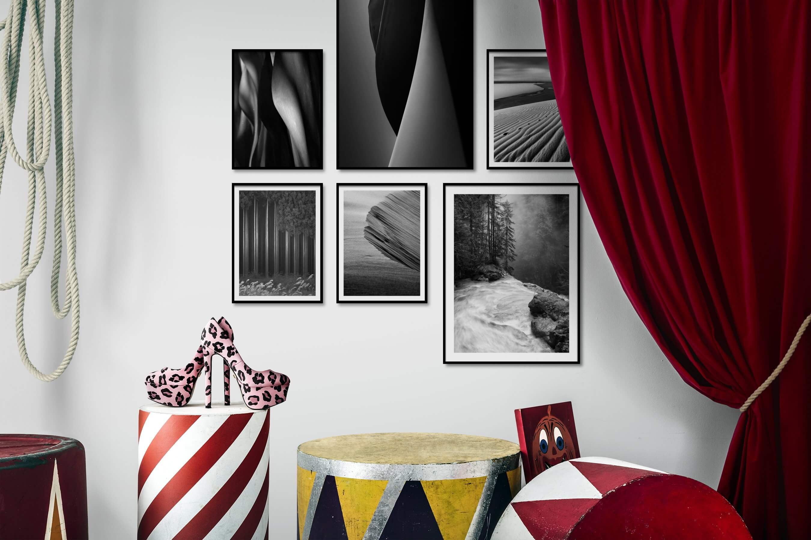 Gallery wall idea with six framed pictures arranged on a wall depicting Black & White, For the Moderate, Nature, and For the Minimalist