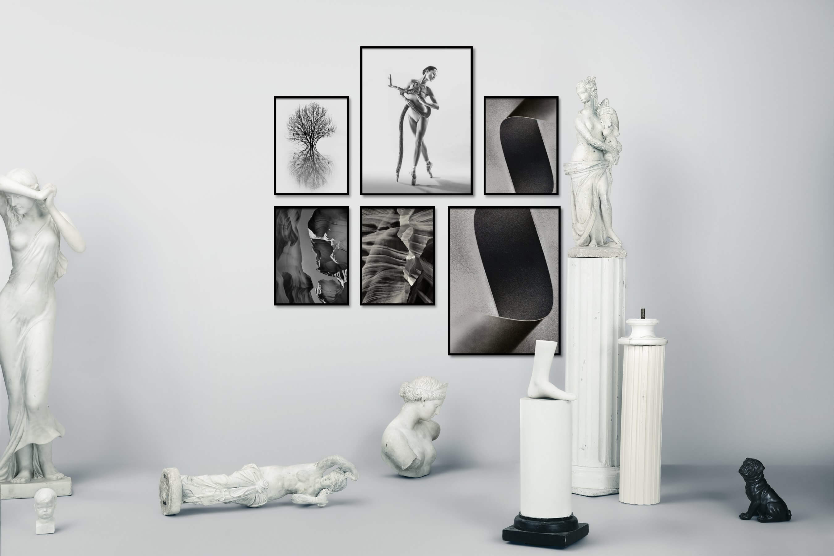Gallery wall idea with six framed pictures arranged on a wall depicting Black & White, Bright Tones, For the Minimalist, Nature, Fashion & Beauty, For the Moderate, and For the Maximalist